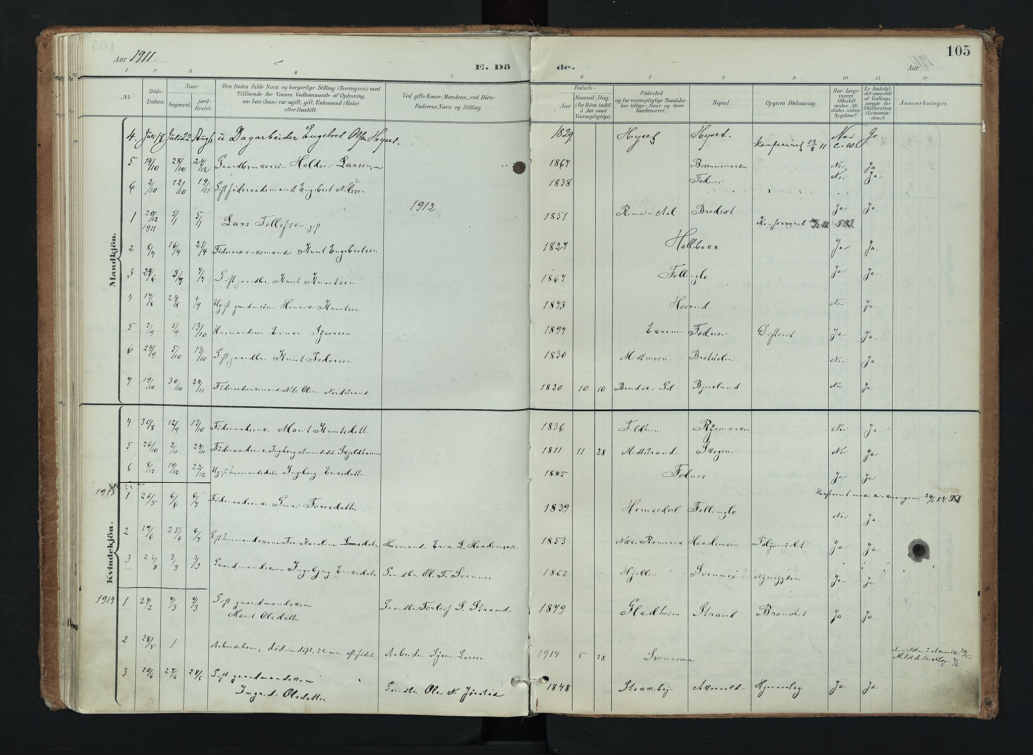 SAH, Nord-Aurdal prestekontor, Ministerialbok nr. 16, 1897-1925, s. 105