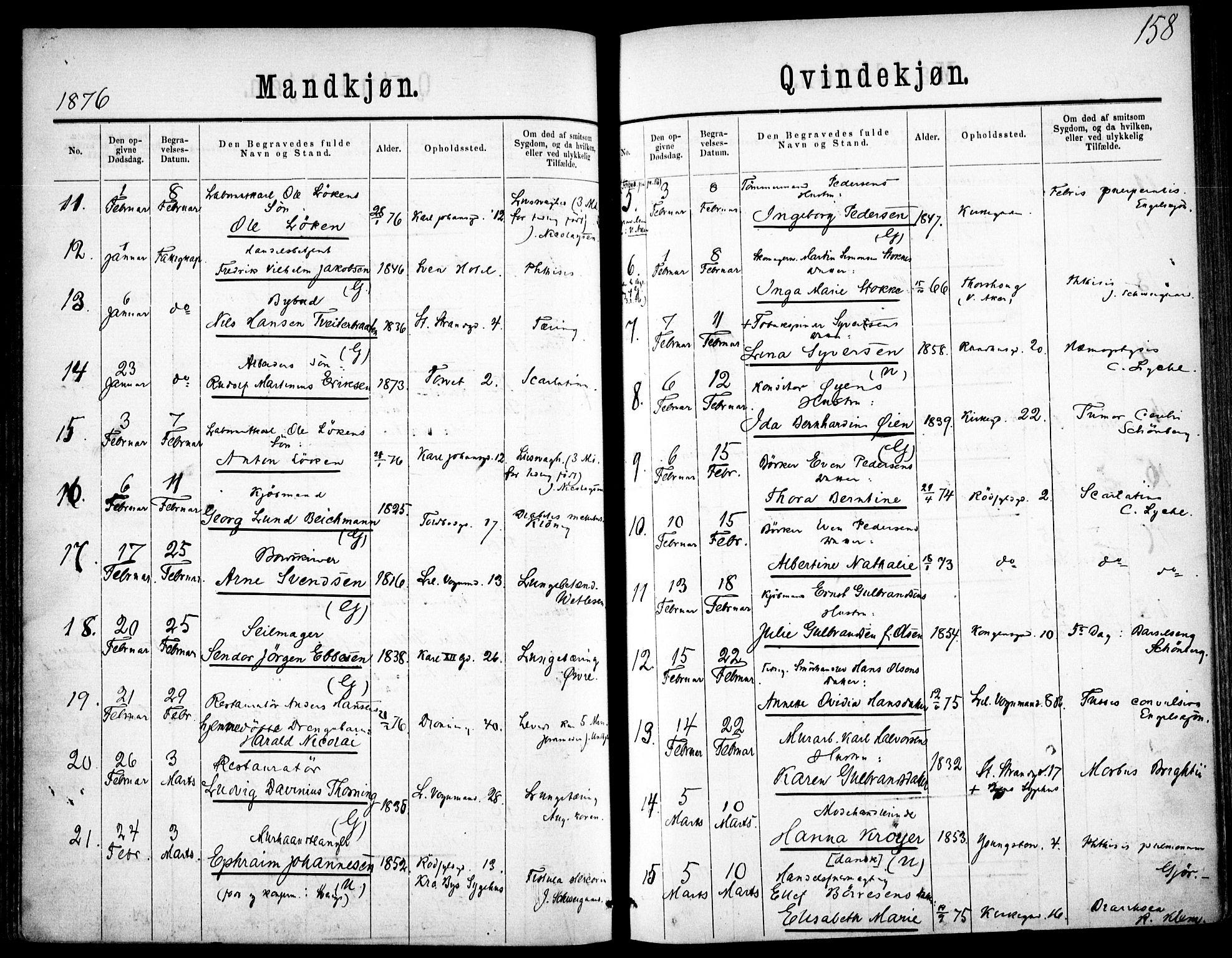 SAO, Oslo domkirke Kirkebøker, F/Fa/L0026: Ministerialbok nr. 26, 1867-1884, s. 158