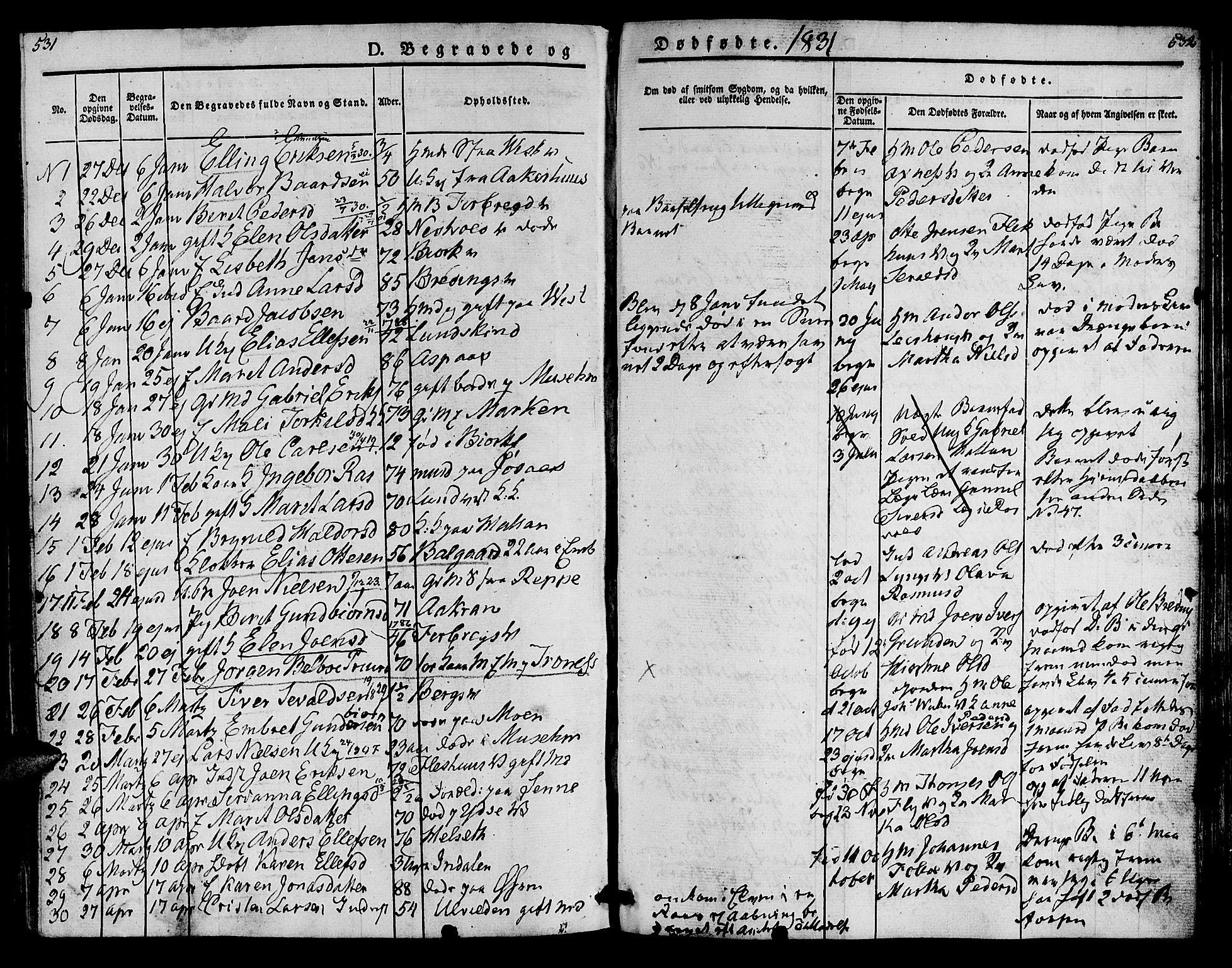 SAT, Ministerialprotokoller, klokkerbøker og fødselsregistre - Nord-Trøndelag, 723/L0238: Ministerialbok nr. 723A07, 1831-1840, s. 531-532