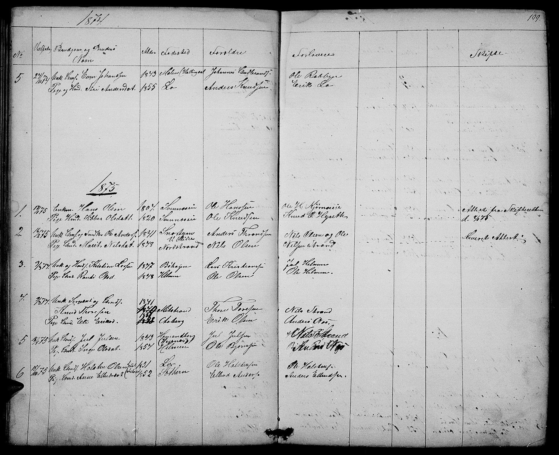 SAH, Nord-Aurdal prestekontor, Klokkerbok nr. 3, 1842-1882, s. 199