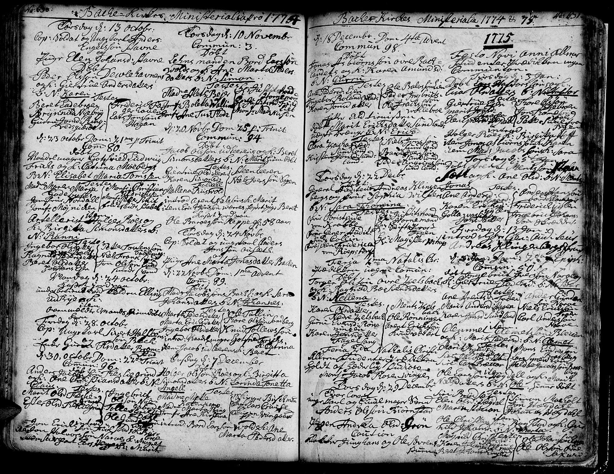SAT, Ministerialprotokoller, klokkerbøker og fødselsregistre - Sør-Trøndelag, 606/L0276: Ministerialbok nr. 606A01 /2, 1727-1779, s. 630-631