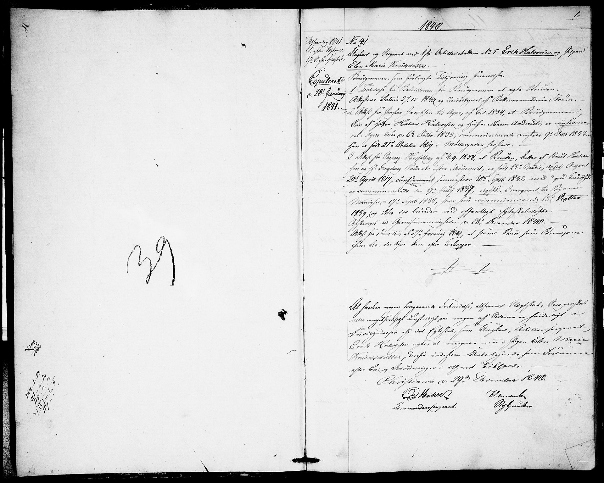 SAO, Garnisonsmenigheten Kirkebøker, H/Ha/L0004: Lysningsprotokoll nr. I 4, 1840-1844, s. 0-1