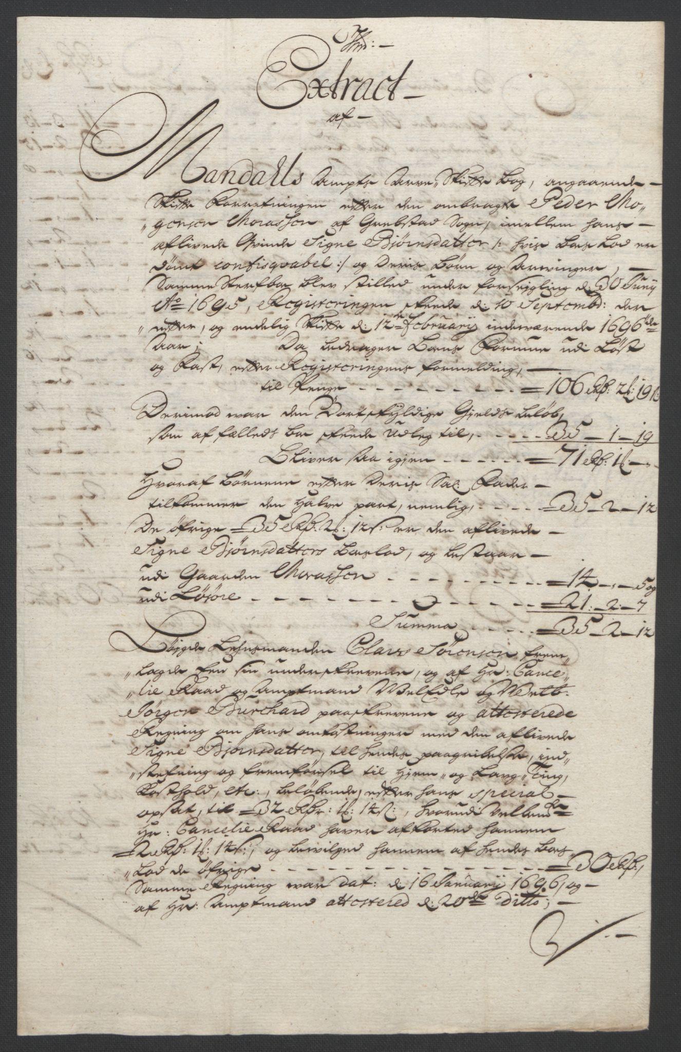 RA, Rentekammeret inntil 1814, Reviderte regnskaper, Fogderegnskap, R43/L2545: Fogderegnskap Lista og Mandal, 1694-1695, s. 254