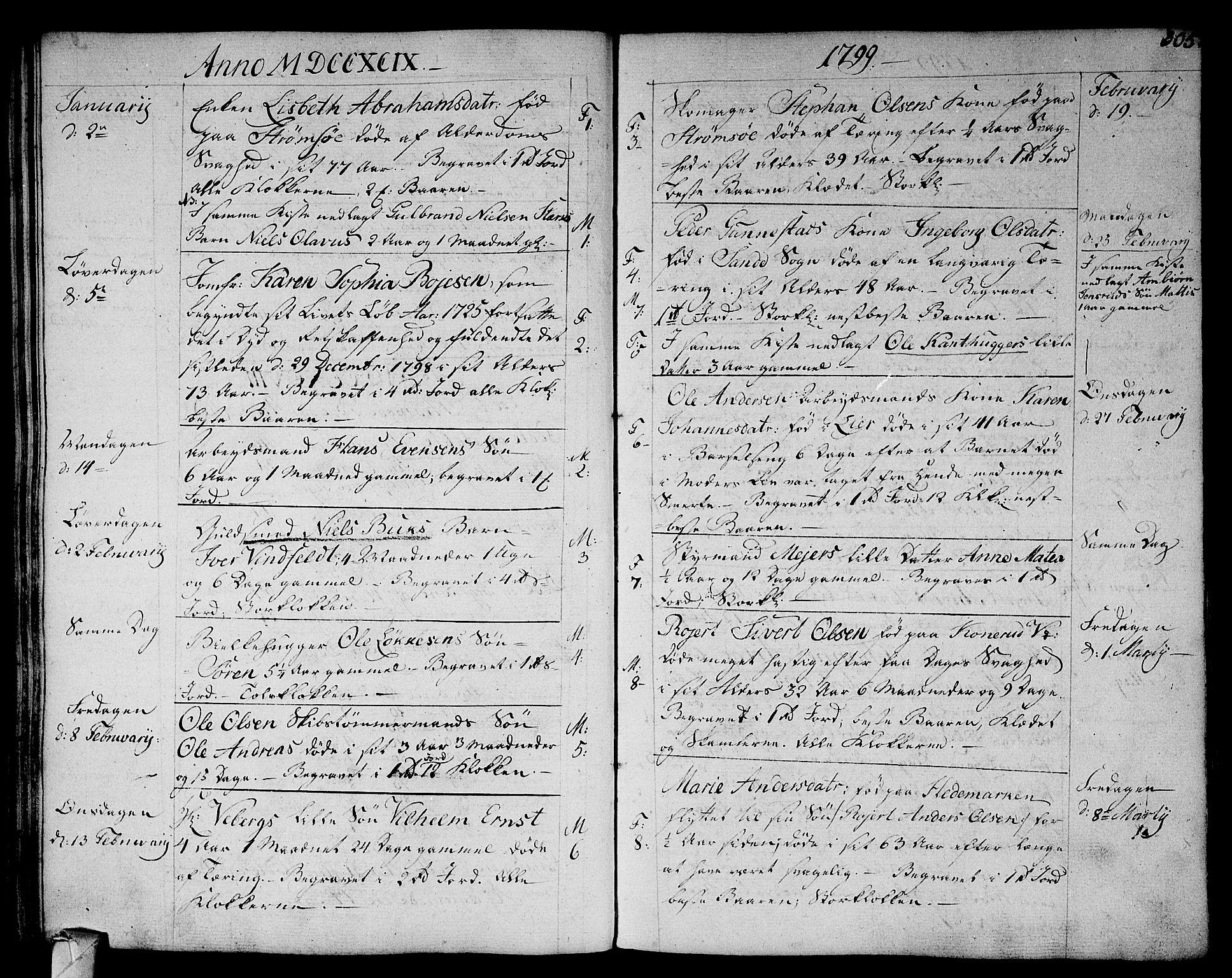 SAKO, Strømsø kirkebøker, F/Fa/L0010: Ministerialbok nr. I 10, 1792-1822, s. 305
