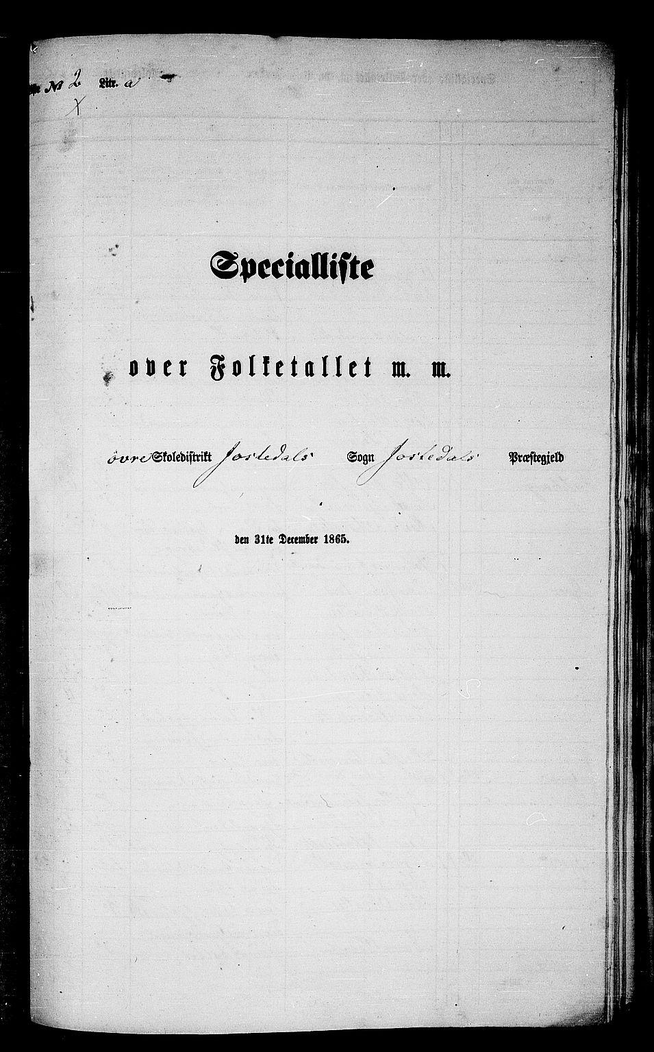 RA, Folketelling 1865 for 1427P Jostedal prestegjeld, 1865, s. 37