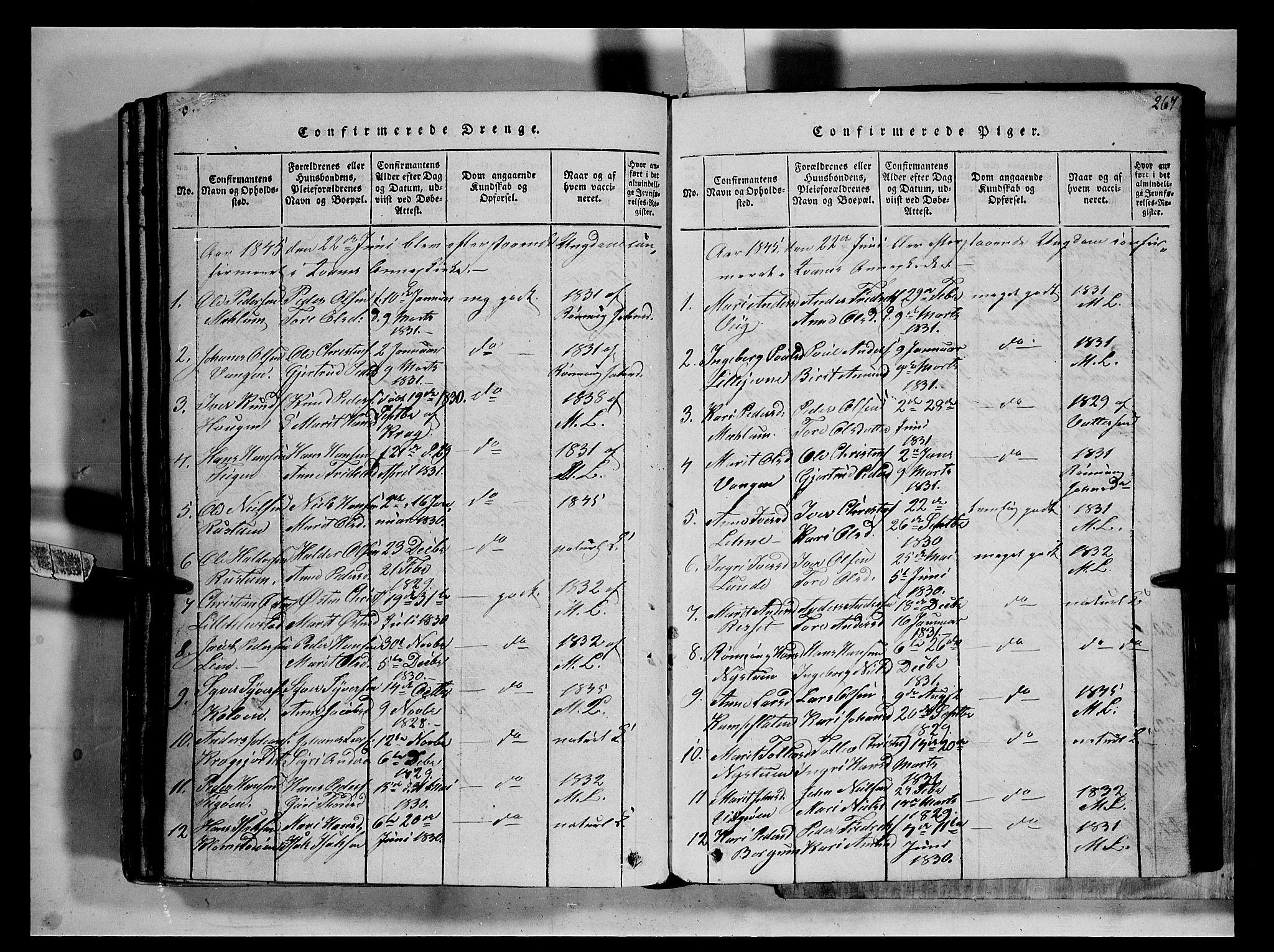 SAH, Fron prestekontor, H/Ha/Hab/L0002: Klokkerbok nr. 2, 1816-1850, s. 267