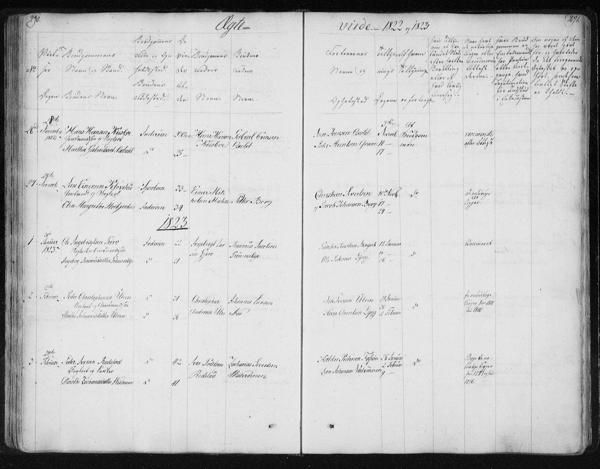 SAT, Ministerialprotokoller, klokkerbøker og fødselsregistre - Nord-Trøndelag, 730/L0276: Ministerialbok nr. 730A05, 1822-1830, s. 290-291
