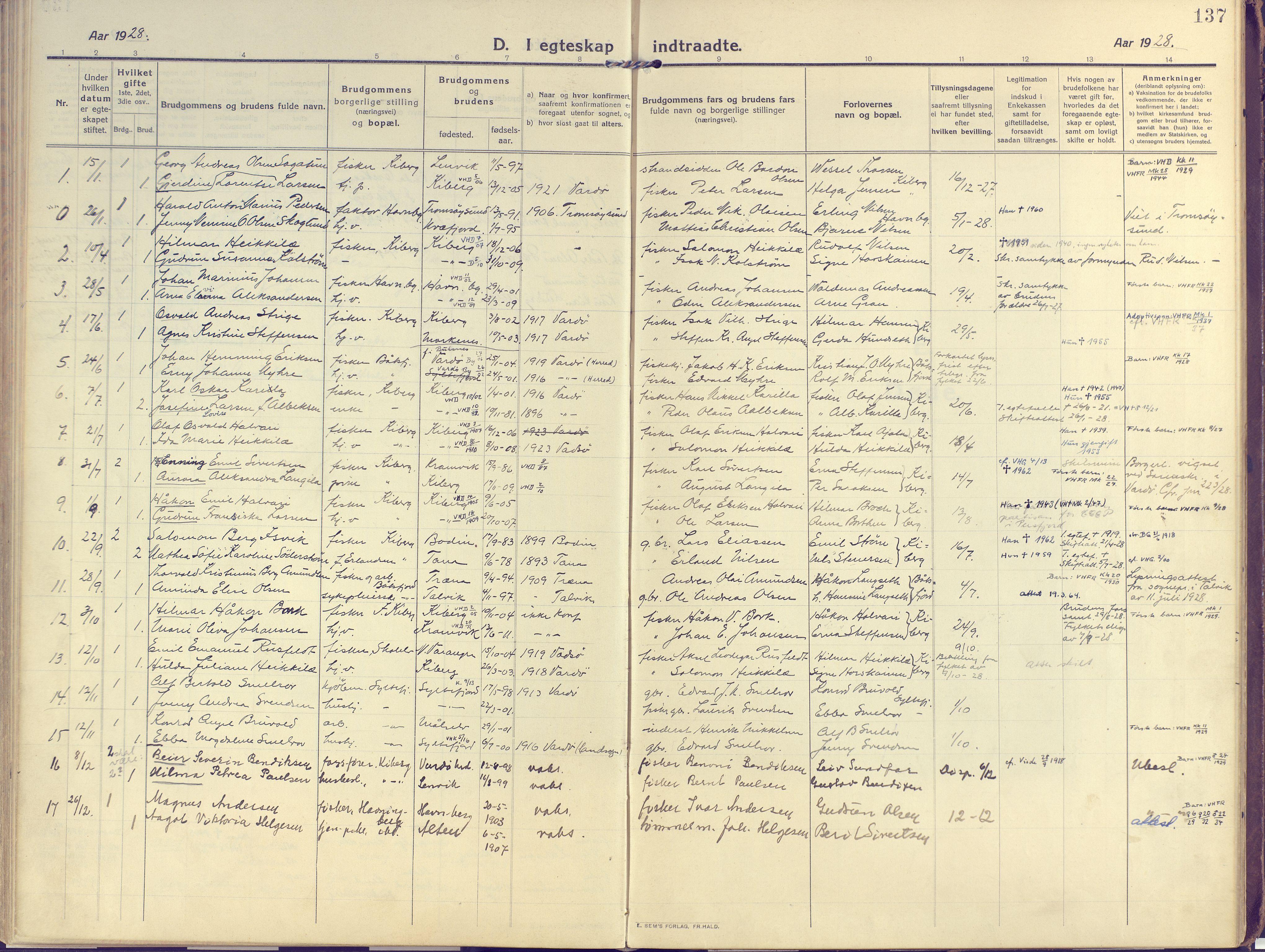 SATØ, Vardø sokneprestkontor, H/Ha/L0013kirke: Ministerialbok nr. 13, 1912-1928, s. 137