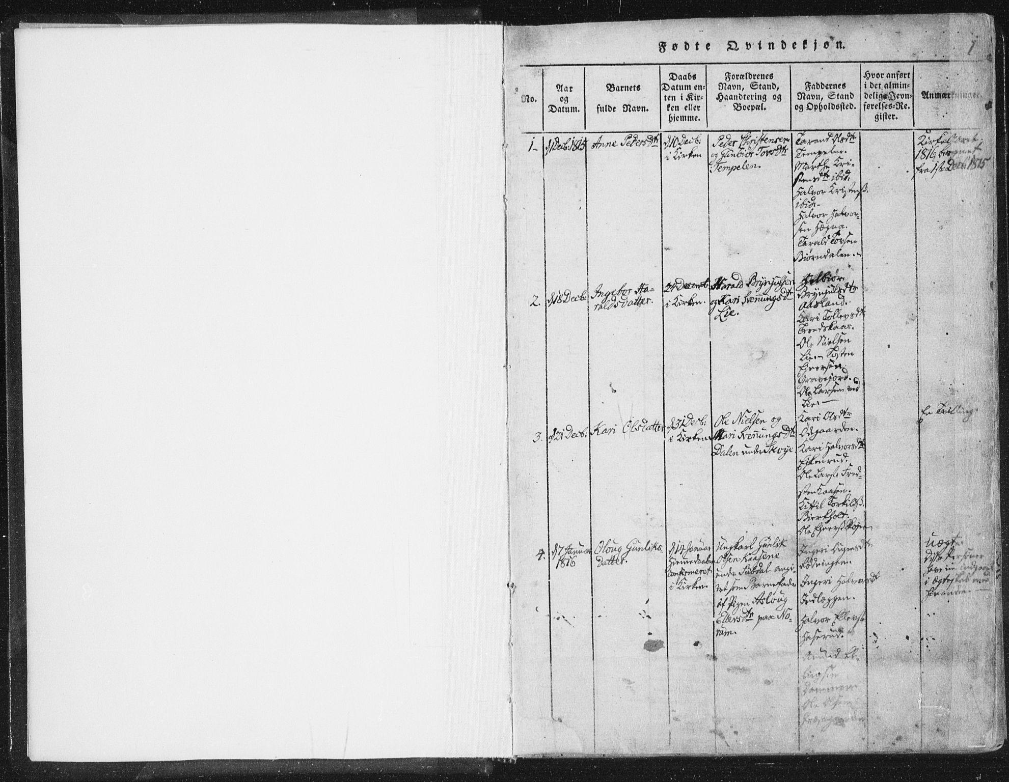 SAKO, Bø kirkebøker, F/Fa/L0006: Ministerialbok nr. 6, 1815-1831, s. 0-1