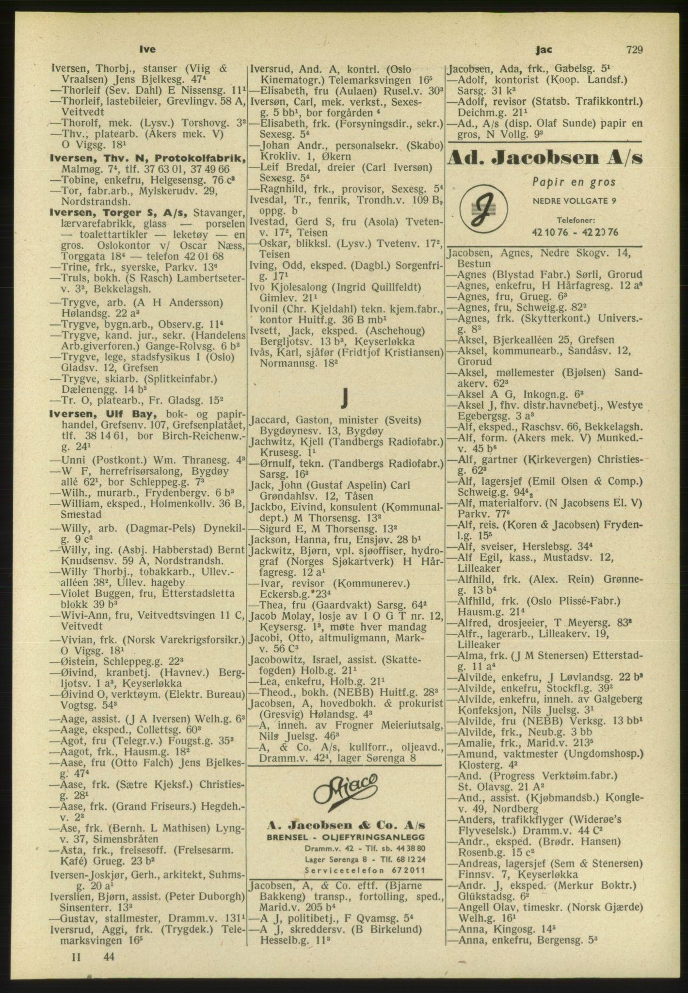 PUBL, Kristiania/Oslo adressebok, 1954, s. 729
