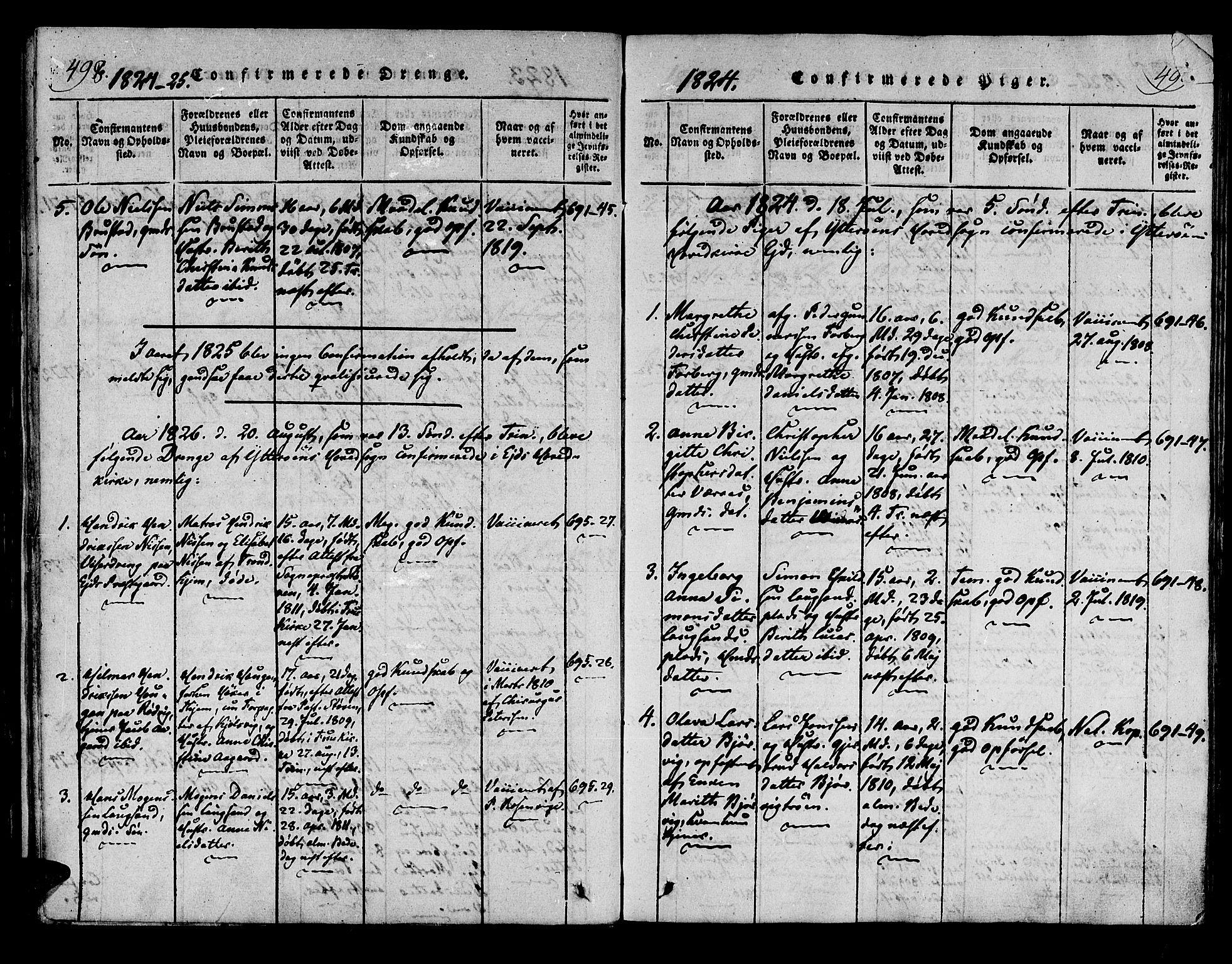 SAT, Ministerialprotokoller, klokkerbøker og fødselsregistre - Nord-Trøndelag, 722/L0217: Ministerialbok nr. 722A04, 1817-1842, s. 498-499
