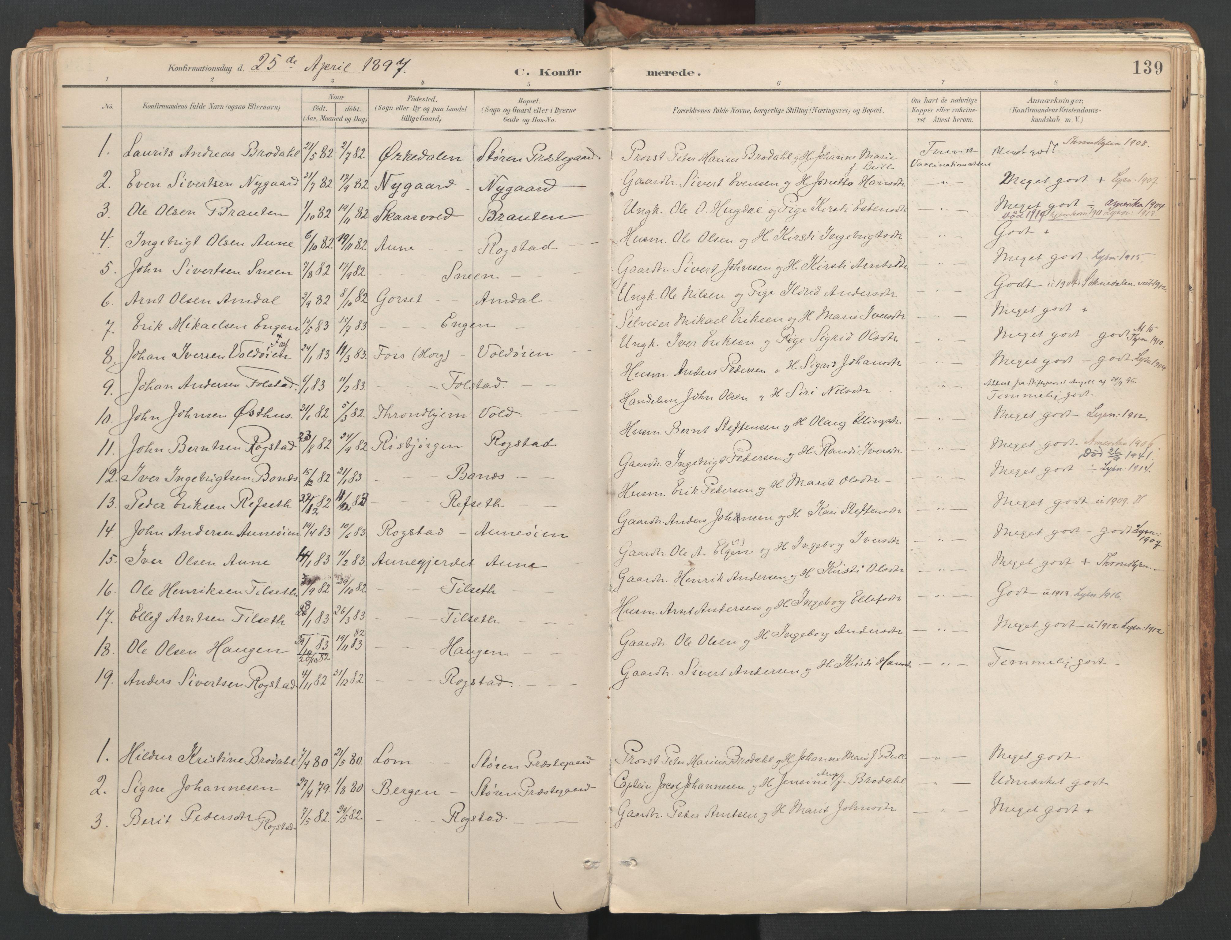 SAT, Ministerialprotokoller, klokkerbøker og fødselsregistre - Sør-Trøndelag, 687/L1004: Ministerialbok nr. 687A10, 1891-1923, s. 139