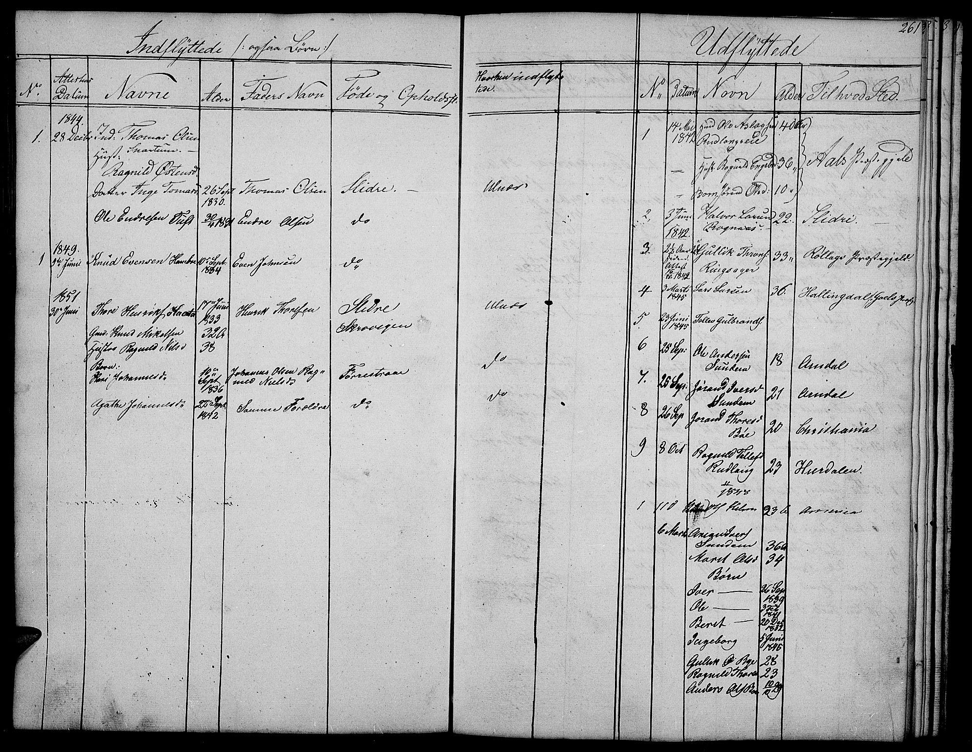 SAH, Nord-Aurdal prestekontor, Klokkerbok nr. 4, 1842-1882, s. 261
