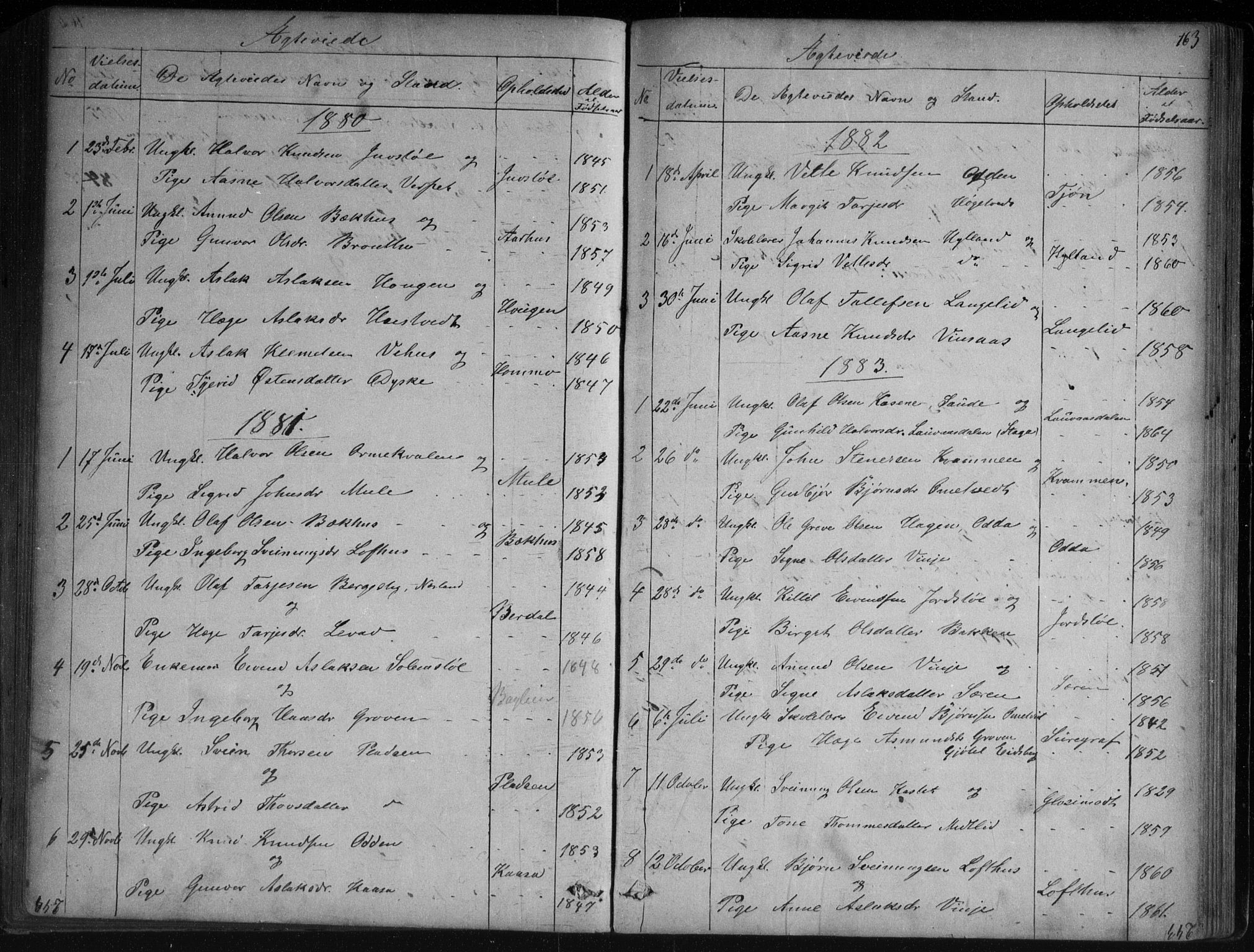 SAKO, Vinje kirkebøker, G/Ga/L0002: Klokkerbok nr. I 2, 1849-1893, s. 163