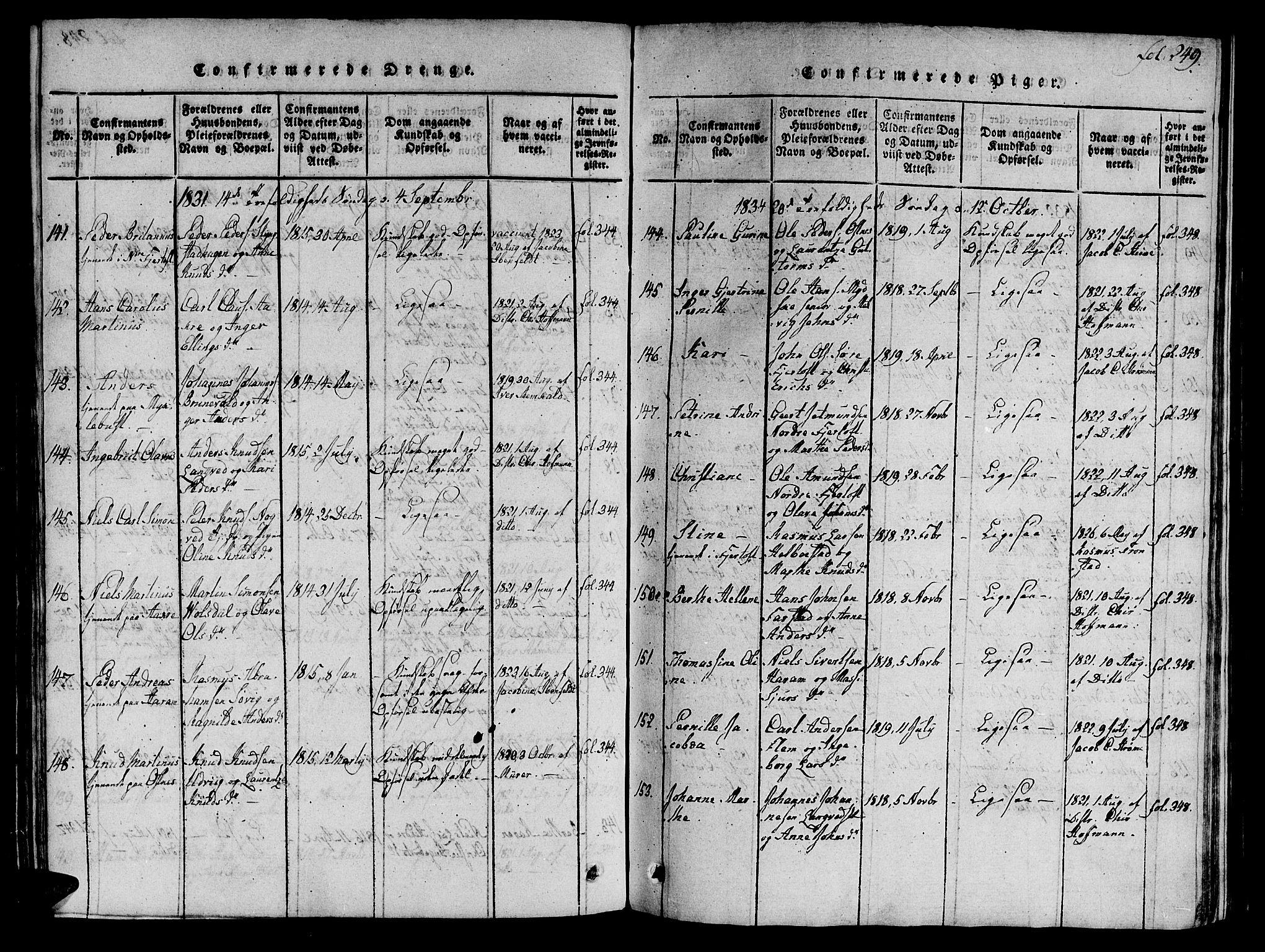 SAT, Ministerialprotokoller, klokkerbøker og fødselsregistre - Møre og Romsdal, 536/L0495: Ministerialbok nr. 536A04, 1818-1847, s. 249