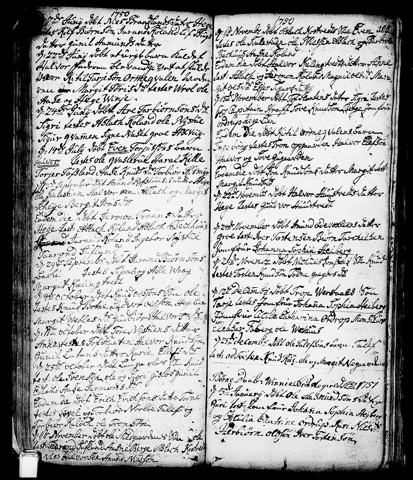 SAKO, Vinje kirkebøker, F/Fa/L0001: Ministerialbok nr. I 1, 1717-1766, s. 105