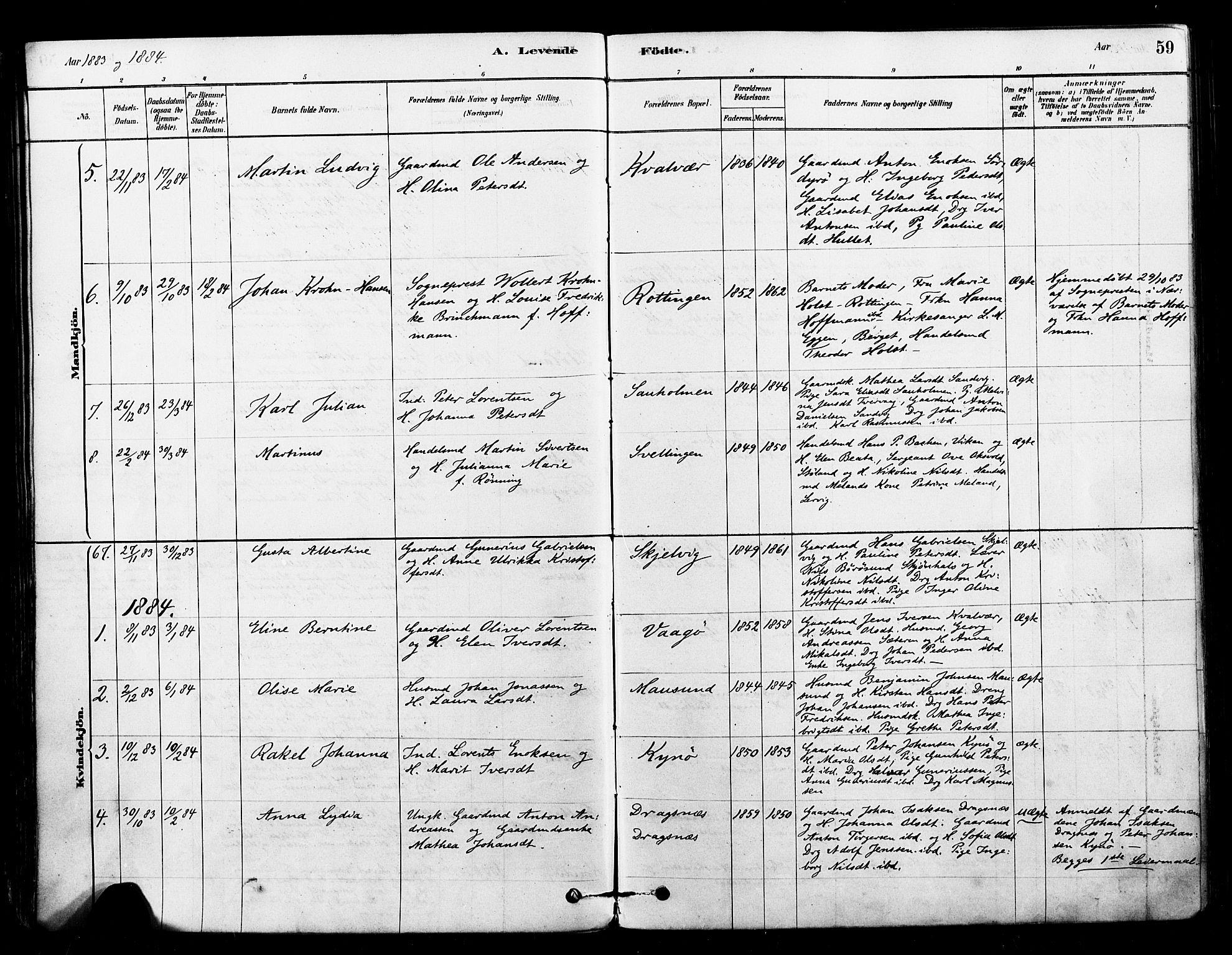 SAT, Ministerialprotokoller, klokkerbøker og fødselsregistre - Sør-Trøndelag, 640/L0578: Ministerialbok nr. 640A03, 1879-1889, s. 59
