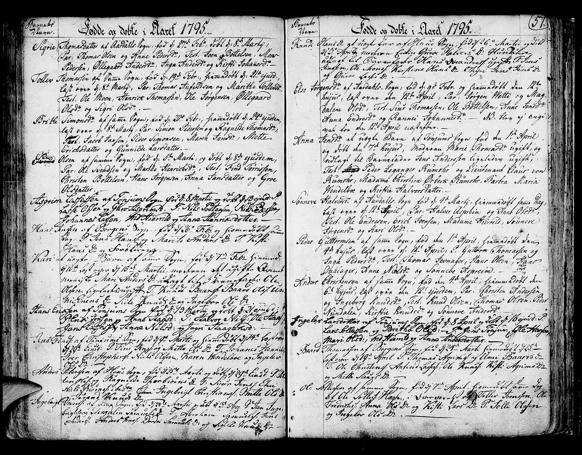 SAB, Lærdal sokneprestembete, Ministerialbok nr. A 3, 1783-1804, s. 57