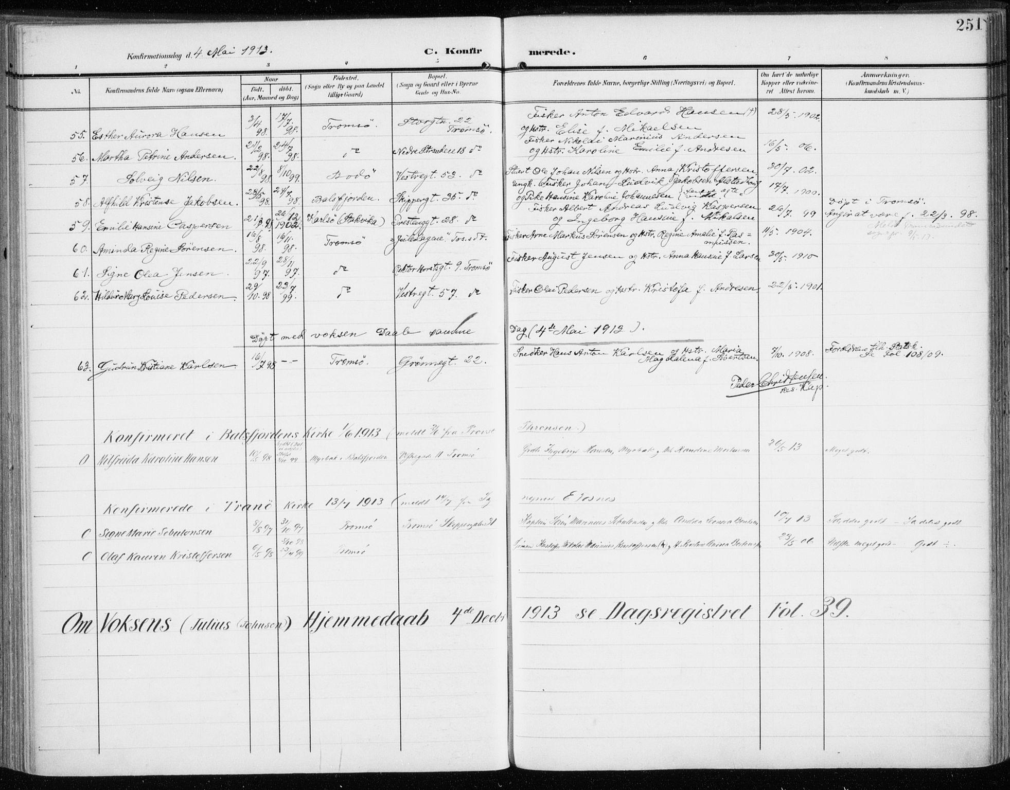 SATØ, Tromsø sokneprestkontor/stiftsprosti/domprosti, G/Ga/L0017kirke: Ministerialbok nr. 17, 1907-1917, s. 251