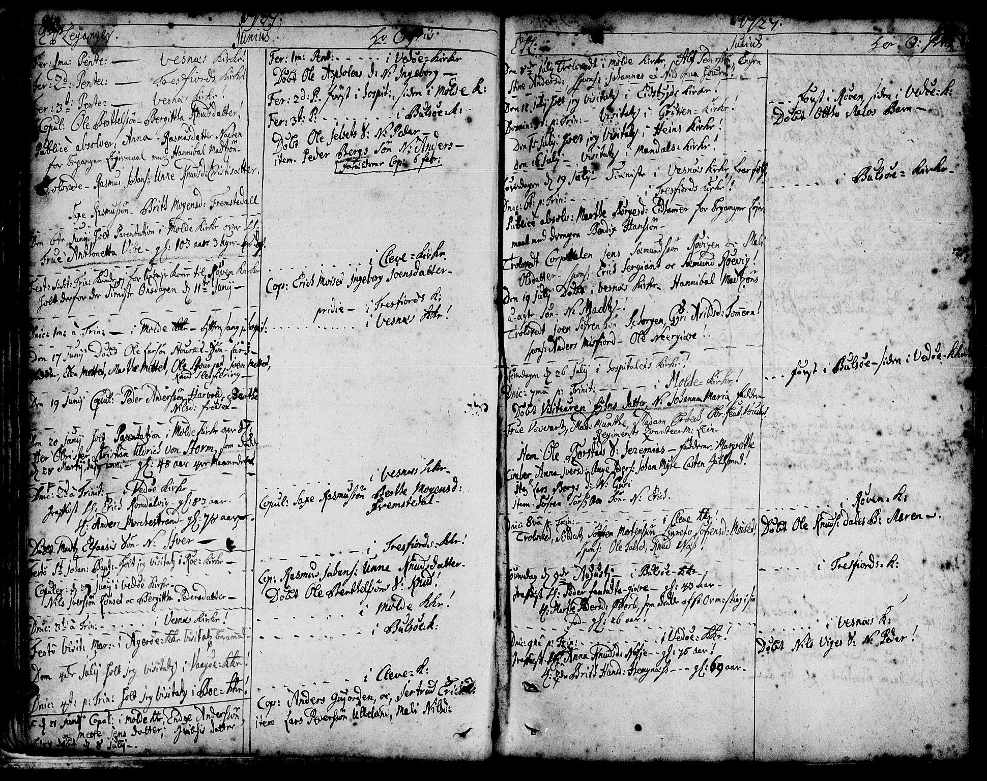 SAT, Ministerialprotokoller, klokkerbøker og fødselsregistre - Møre og Romsdal, 547/L0599: Ministerialbok nr. 547A01, 1721-1764, s. 84-85