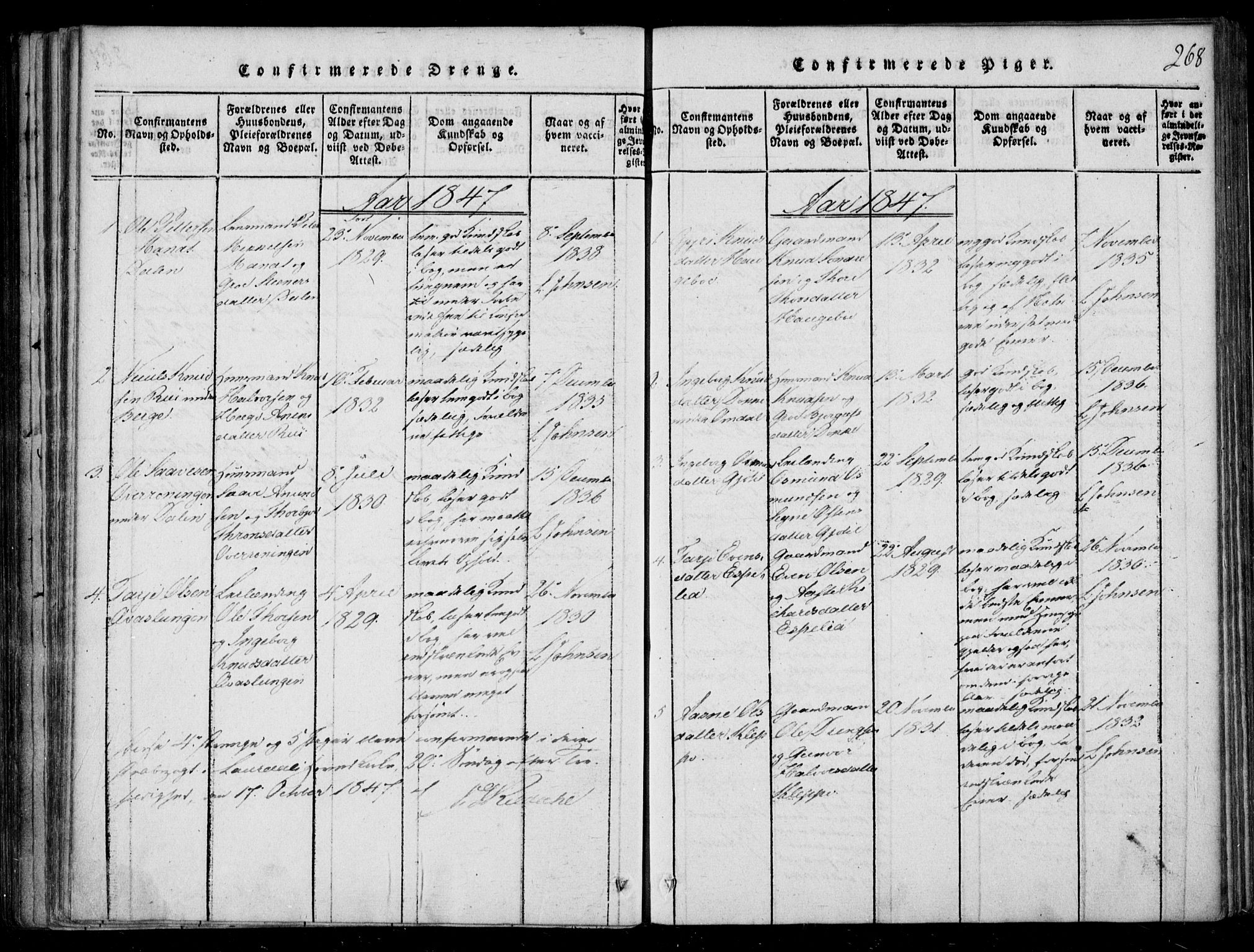 SAKO, Lårdal kirkebøker, F/Fb/L0001: Ministerialbok nr. II 1, 1815-1860, s. 268