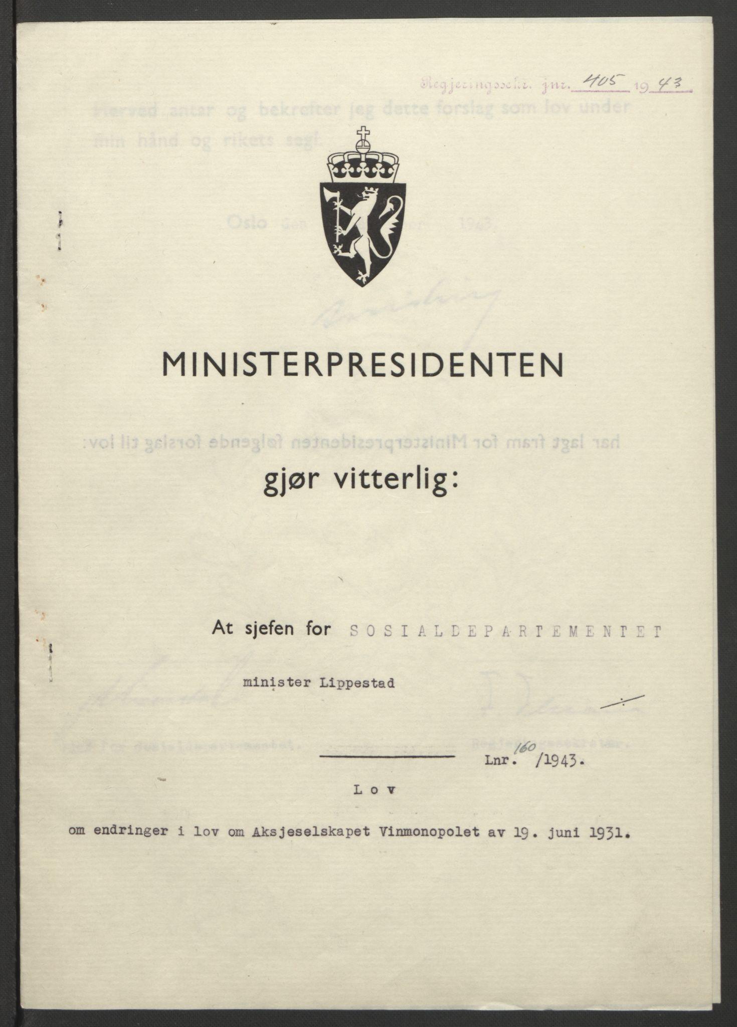 RA, NS-administrasjonen 1940-1945 (Statsrådsekretariatet, de kommisariske statsråder mm), D/Db/L0099: Lover, 1943, s. 757