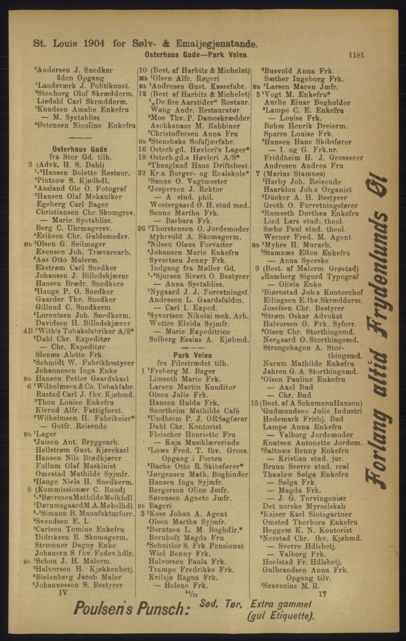 RA, Kristiania adressebok (publikasjon)*, 1906, s. 1181