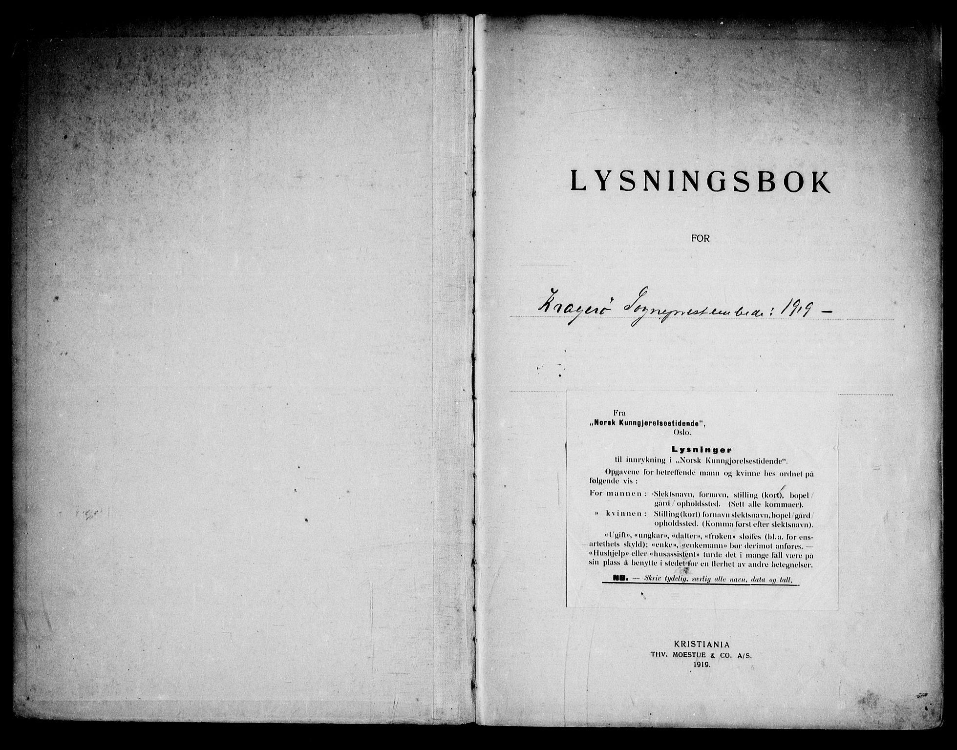 SAKO, Kragerø kirkebøker, H/Ha/L0002: Lysningsprotokoll nr. I 2, 1919-1953