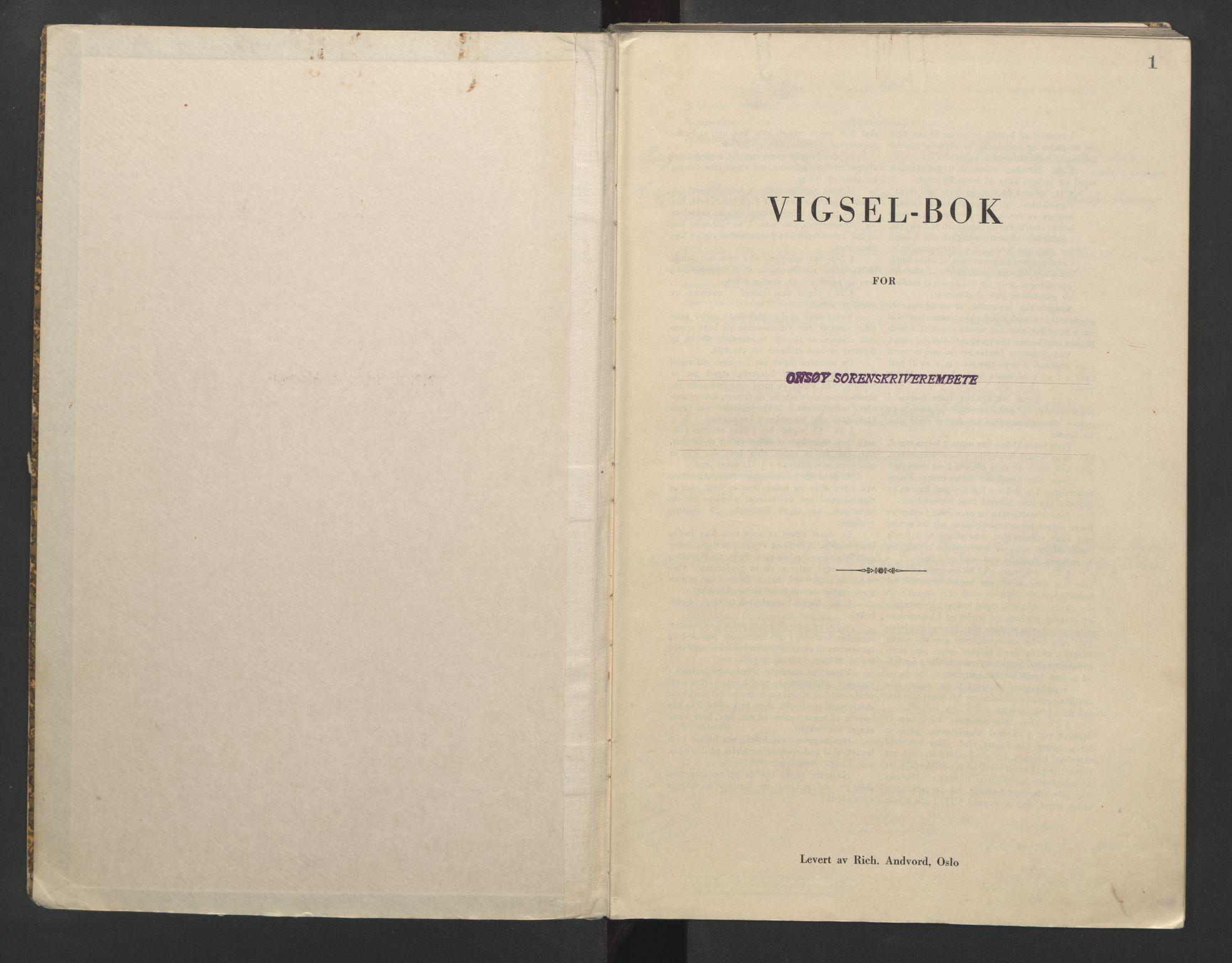 SAO, Onsøy sorenskriveri, L/La/L0005: Vigselsbok, 1944-1946, s. 1