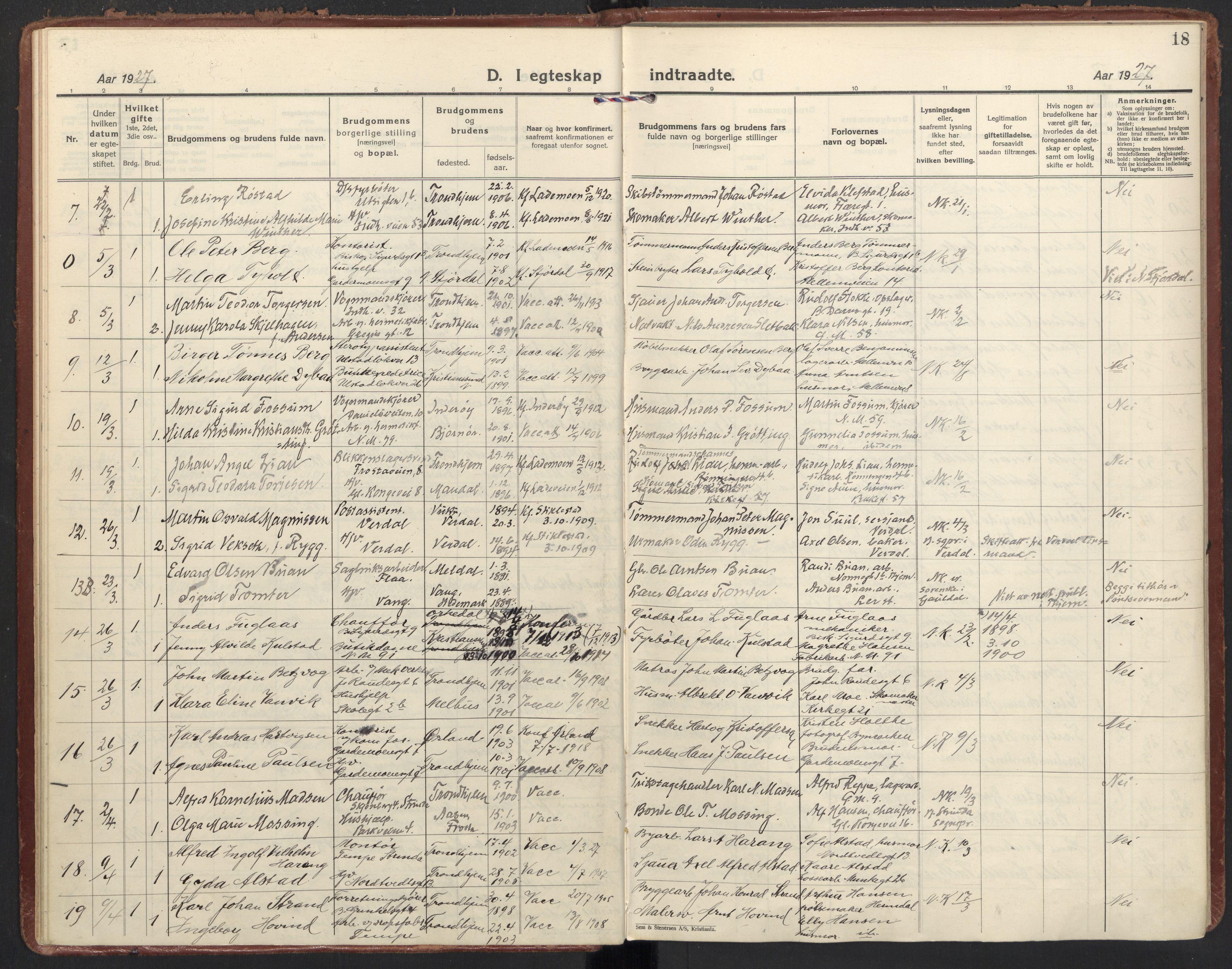 SAT, Ministerialprotokoller, klokkerbøker og fødselsregistre - Sør-Trøndelag, 605/L0249: Ministerialbok nr. 605A11, 1925-1936, s. 18