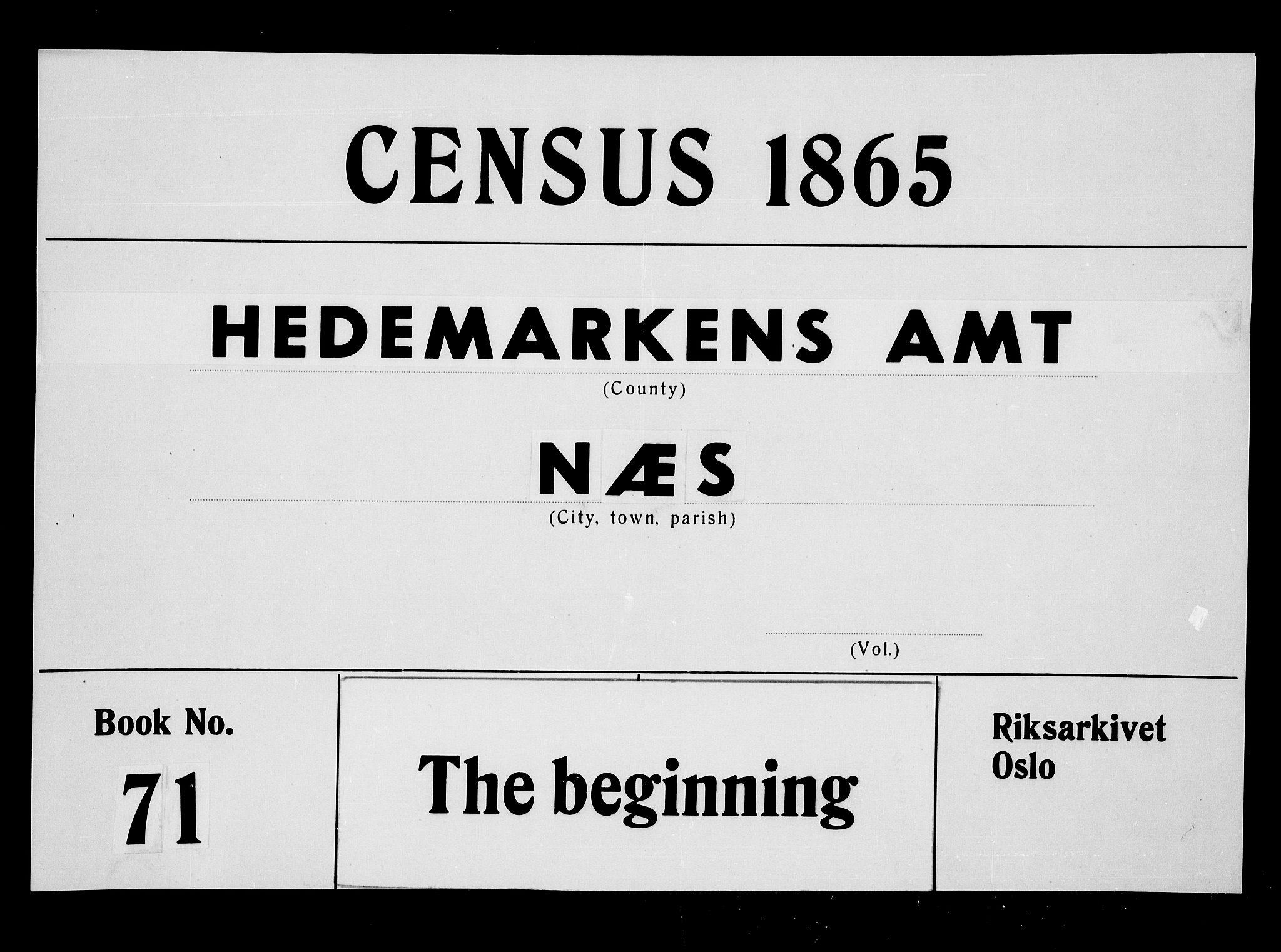 RA, Folketelling 1865 for 0411P Nes prestegjeld, 1865, s. 1