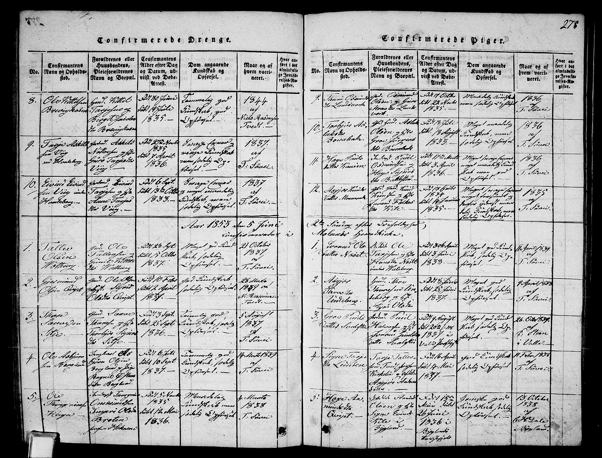SAKO, Fyresdal kirkebøker, G/Ga/L0002: Klokkerbok nr. I 2, 1815-1857, s. 278