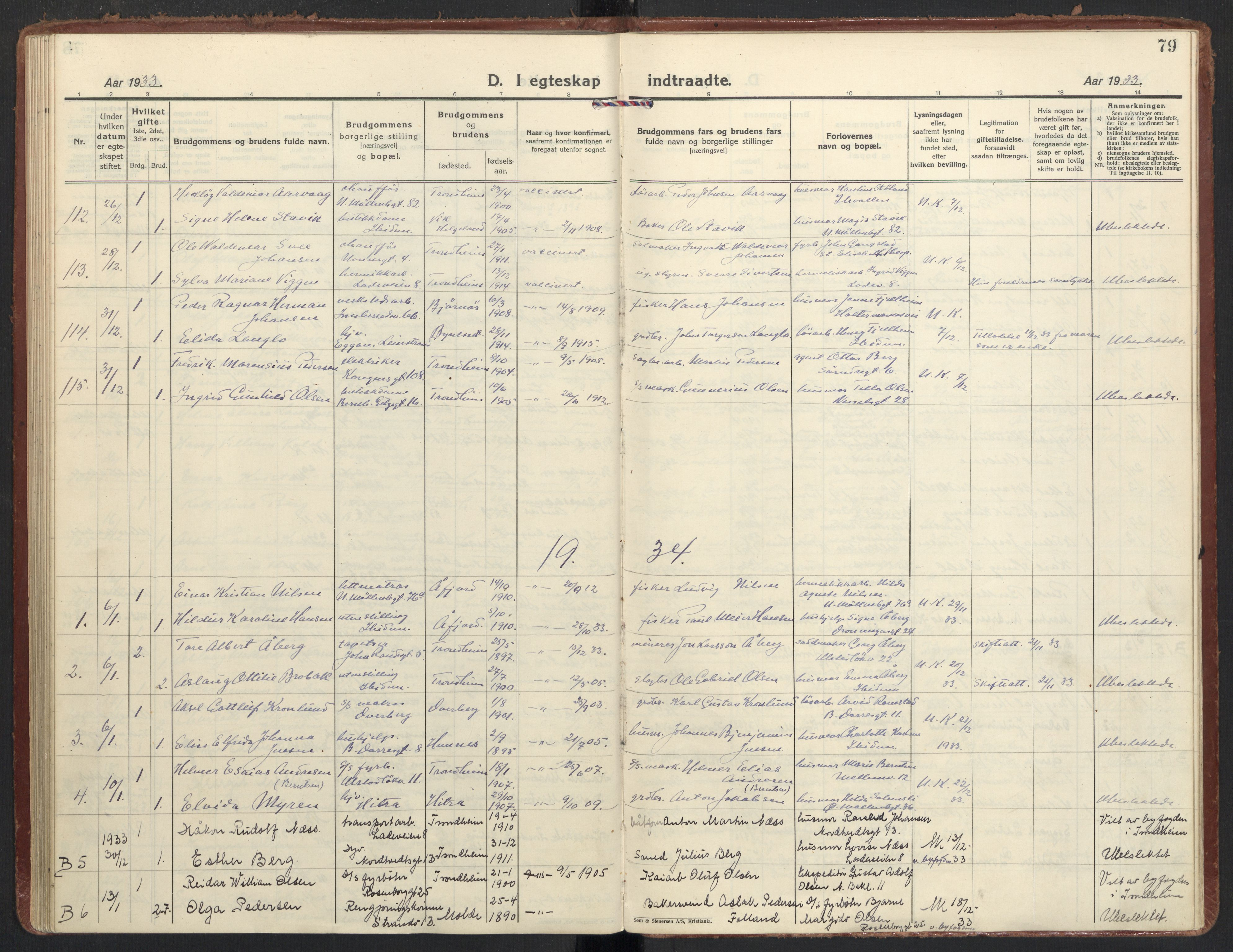 SAT, Ministerialprotokoller, klokkerbøker og fødselsregistre - Sør-Trøndelag, 605/L0249: Ministerialbok nr. 605A11, 1925-1936, s. 79