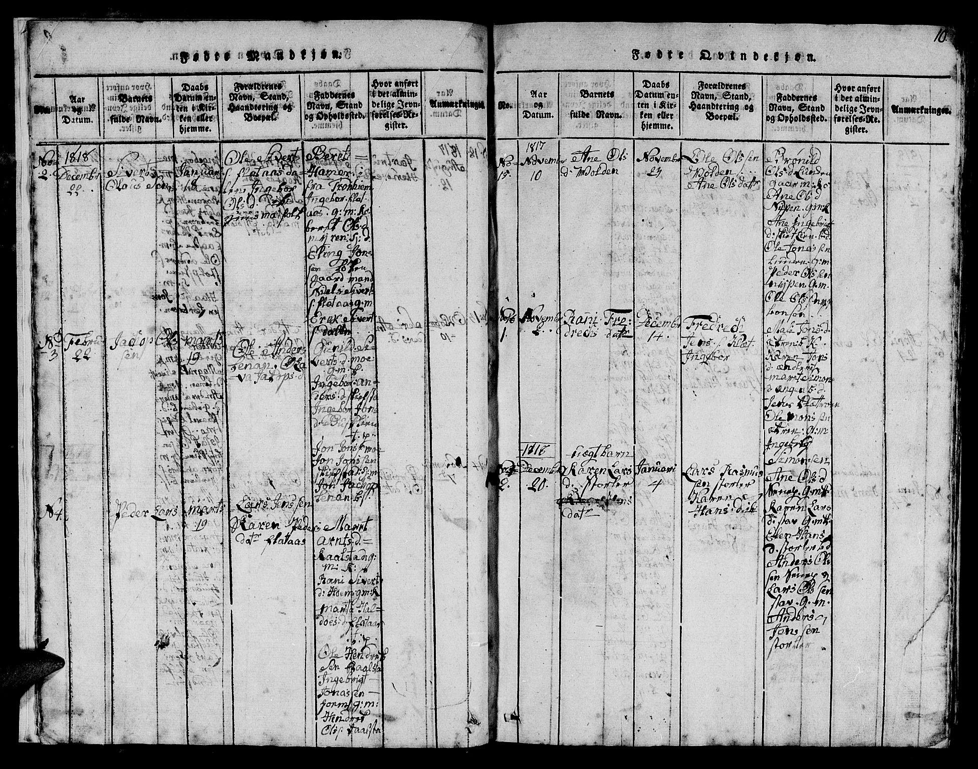 SAT, Ministerialprotokoller, klokkerbøker og fødselsregistre - Sør-Trøndelag, 613/L0393: Klokkerbok nr. 613C01, 1816-1886, s. 10