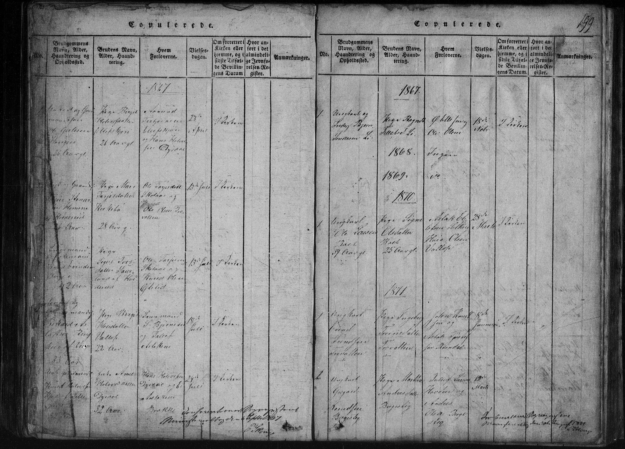 SAKO, Rauland kirkebøker, G/Gb/L0001: Klokkerbok nr. II 1, 1815-1886, s. 199