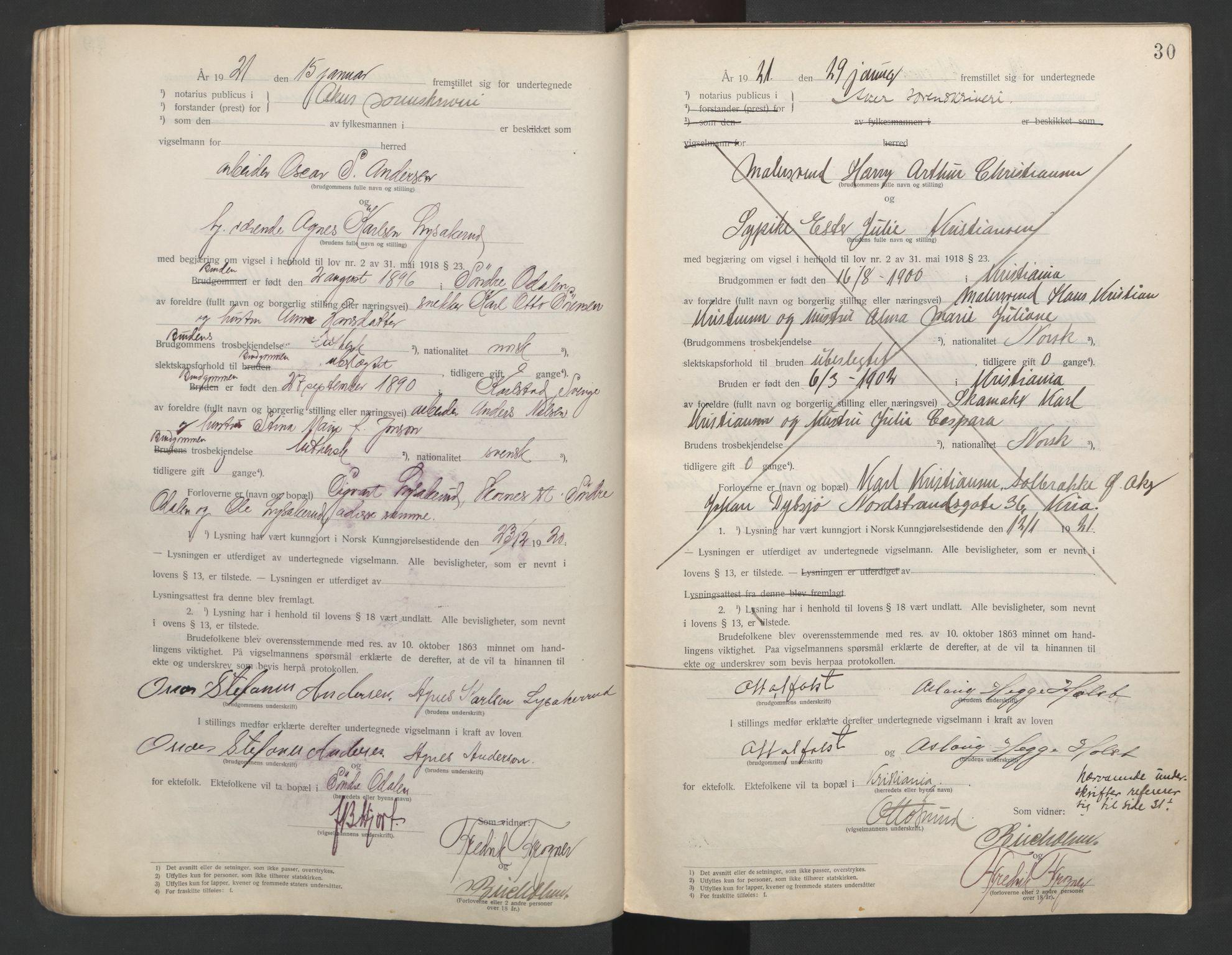 SAO, Aker sorenskriveri, L/Lc/Lcb/L0001: Vigselprotokoll, 1920-1922, s. 30