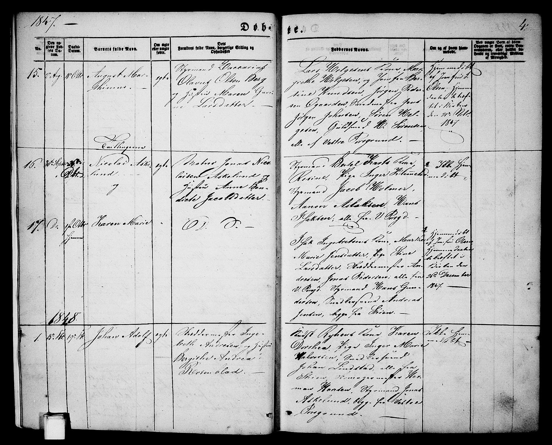 SAKO, Porsgrunn kirkebøker , G/Ga/L0002: Klokkerbok nr. I 2, 1847-1877, s. 4