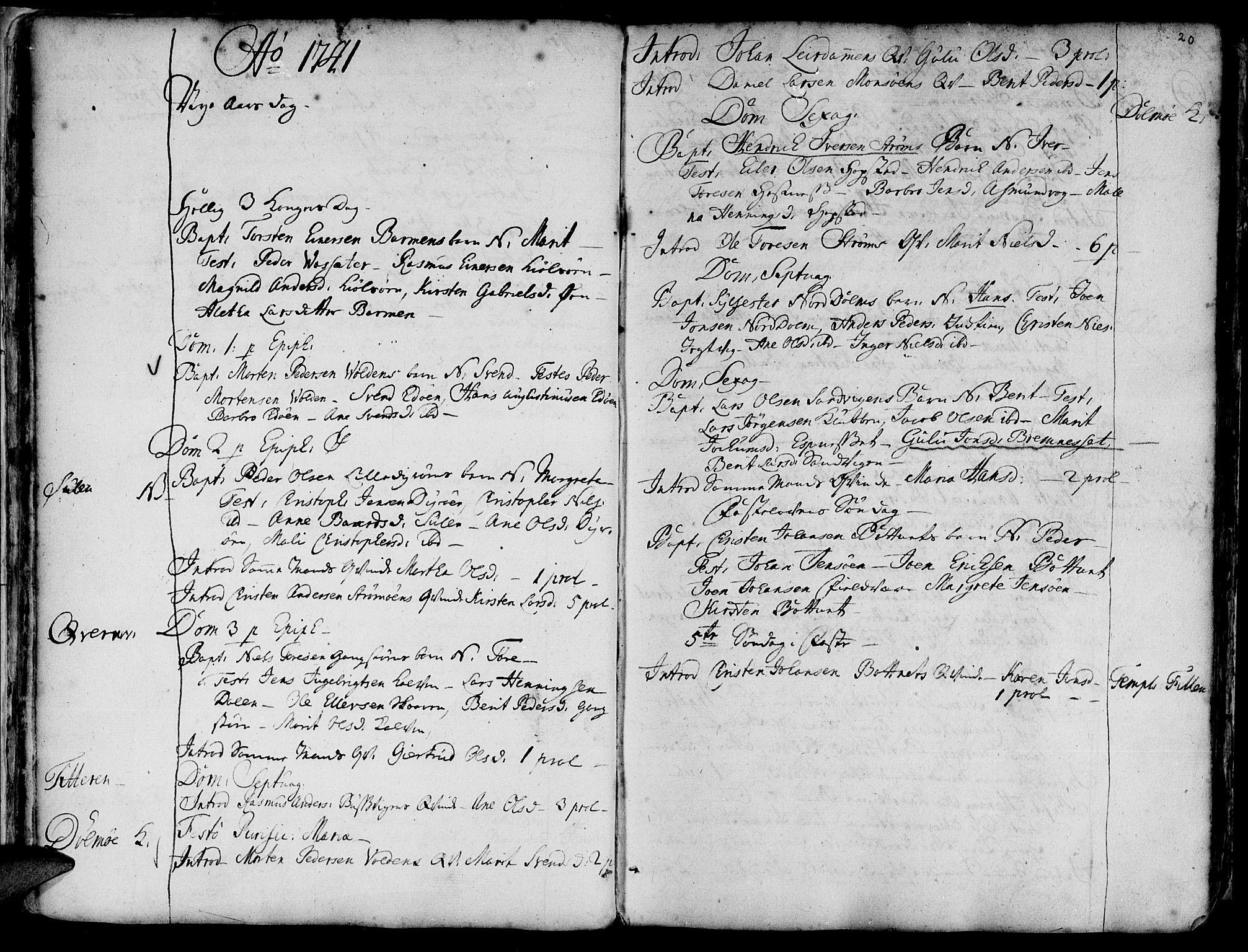 SAT, Ministerialprotokoller, klokkerbøker og fødselsregistre - Sør-Trøndelag, 634/L0525: Ministerialbok nr. 634A01, 1736-1775, s. 20