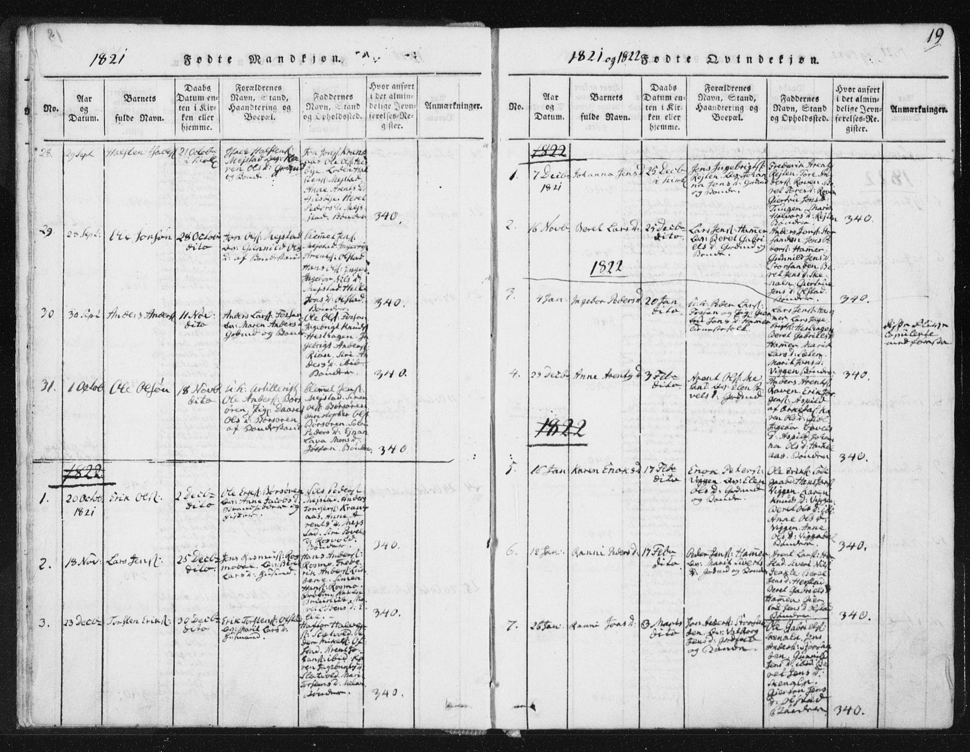 SAT, Ministerialprotokoller, klokkerbøker og fødselsregistre - Sør-Trøndelag, 665/L0770: Ministerialbok nr. 665A05, 1817-1829, s. 19