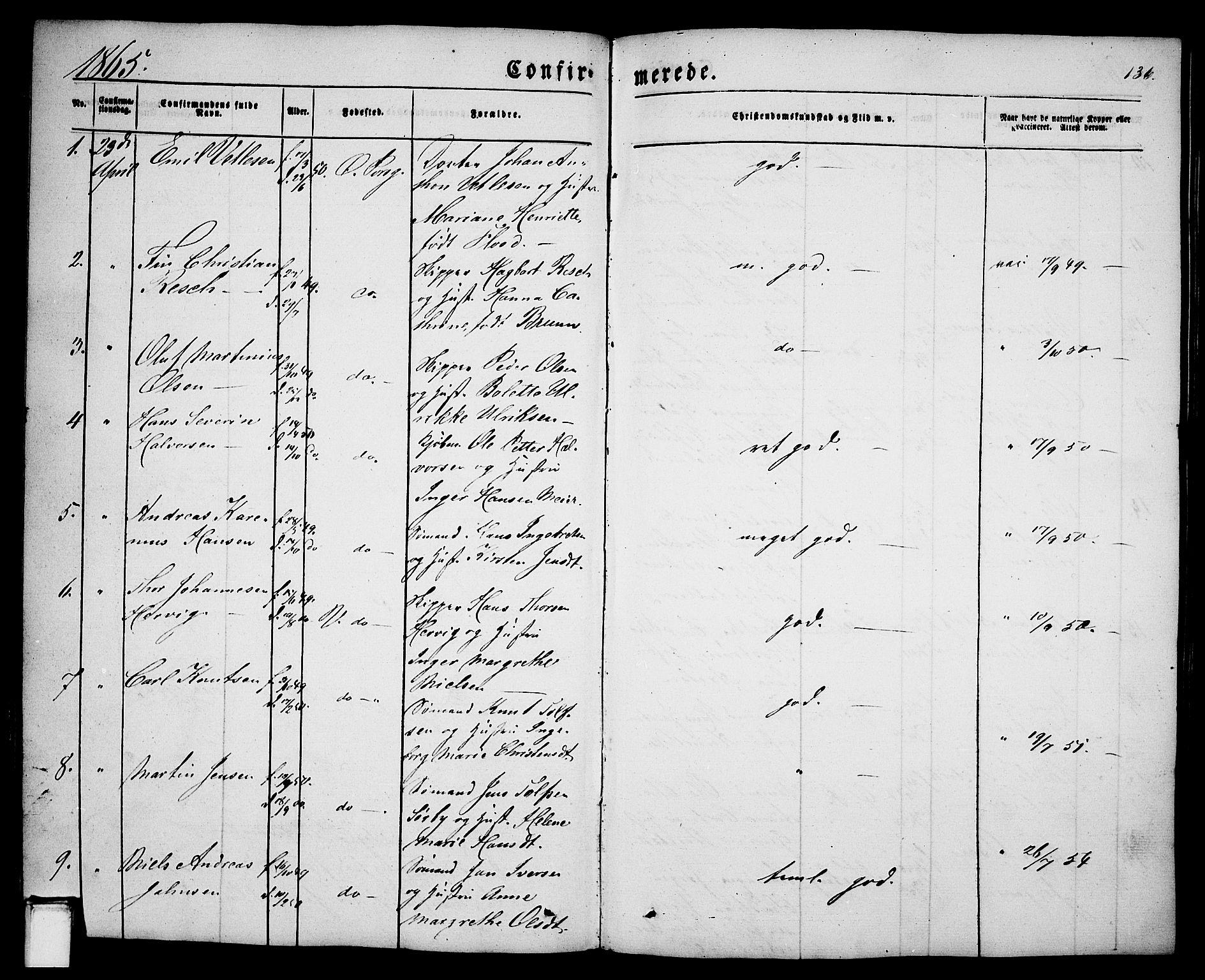 SAKO, Porsgrunn kirkebøker , G/Ga/L0002: Klokkerbok nr. I 2, 1847-1877, s. 136