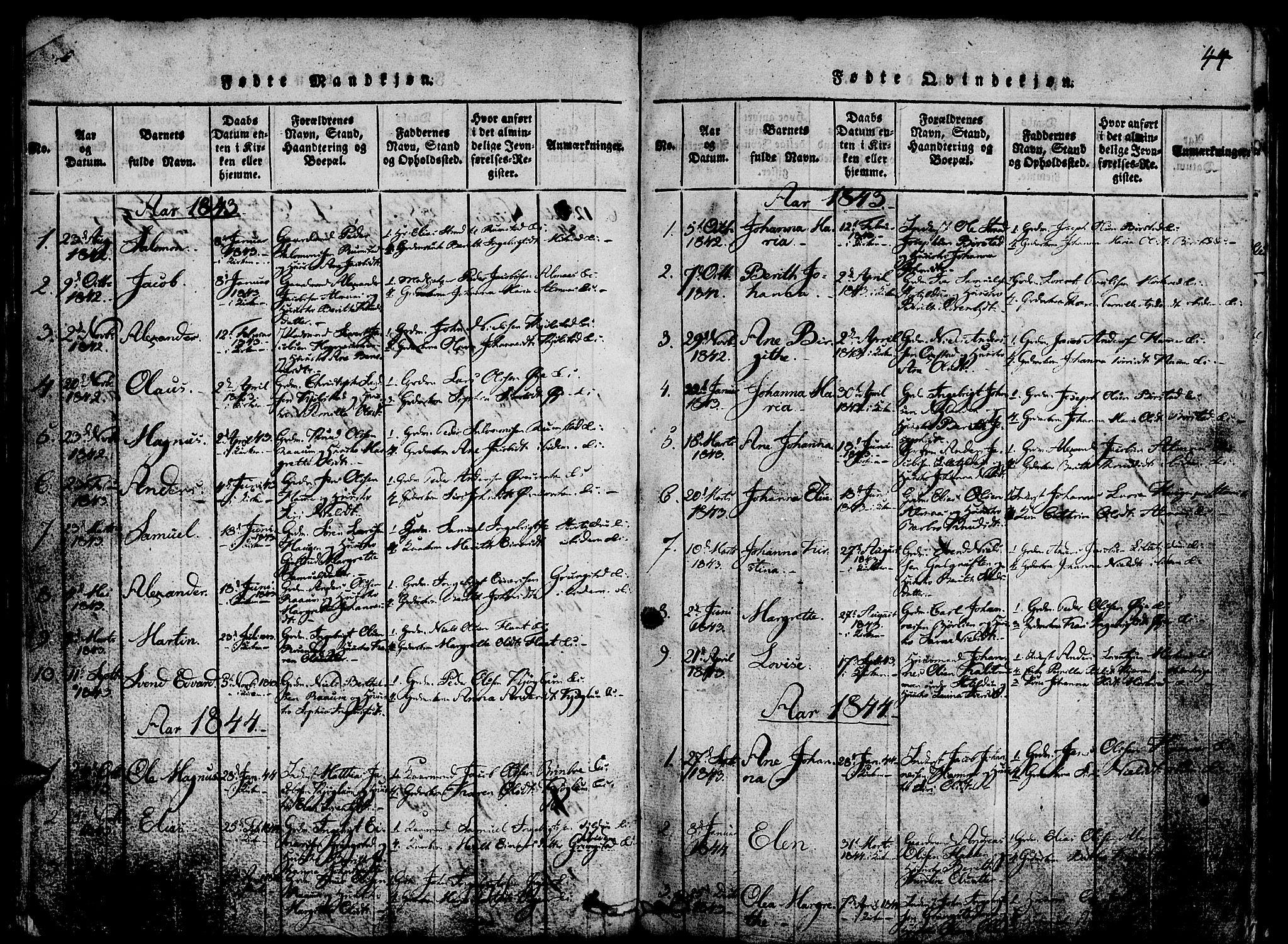 SAT, Ministerialprotokoller, klokkerbøker og fødselsregistre - Nord-Trøndelag, 765/L0562: Klokkerbok nr. 765C01, 1817-1851, s. 44