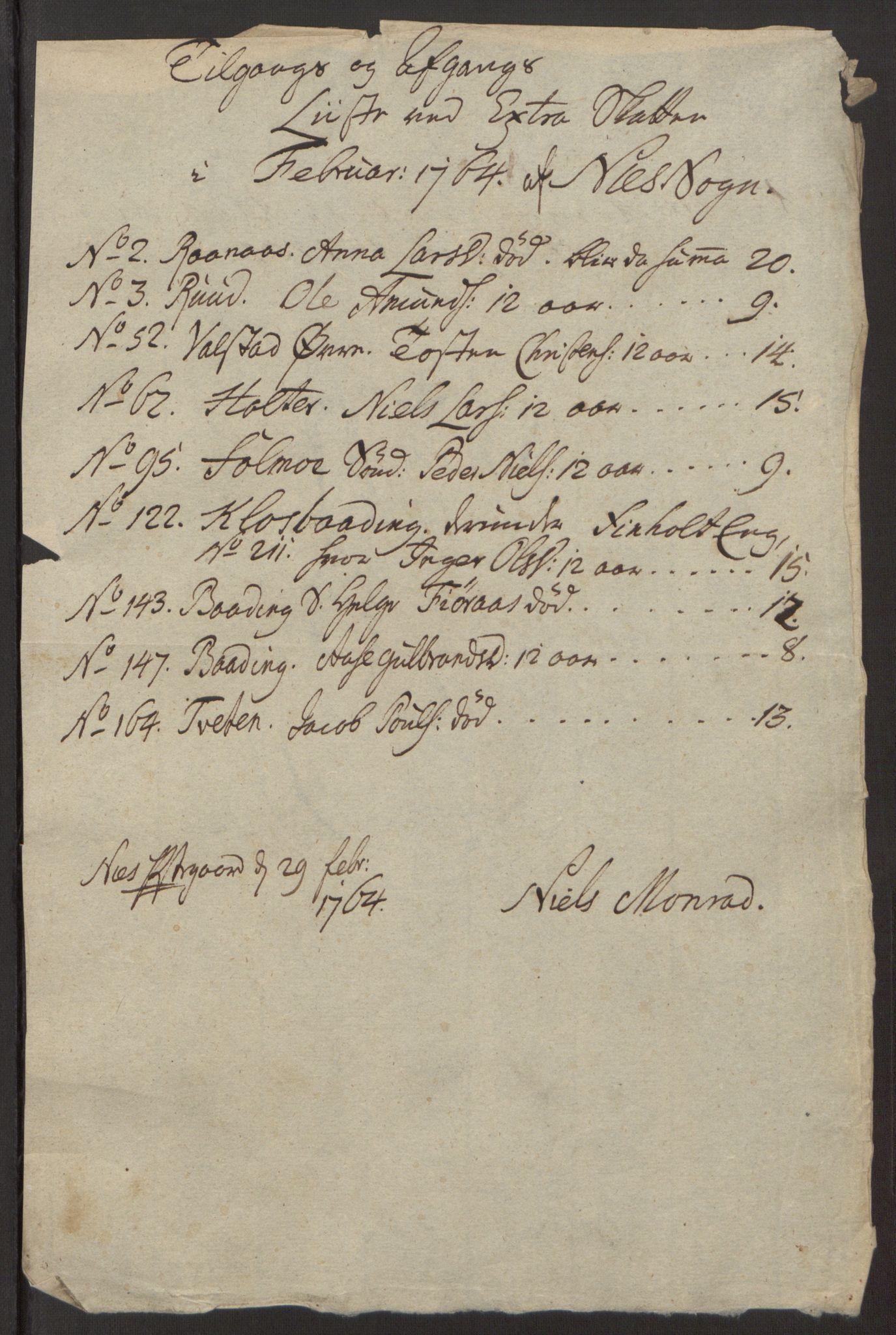 RA, Rentekammeret inntil 1814, Reviderte regnskaper, Fogderegnskap, R12/L0803: Ekstraskatten Øvre Romerike, 1763-1764, s. 255