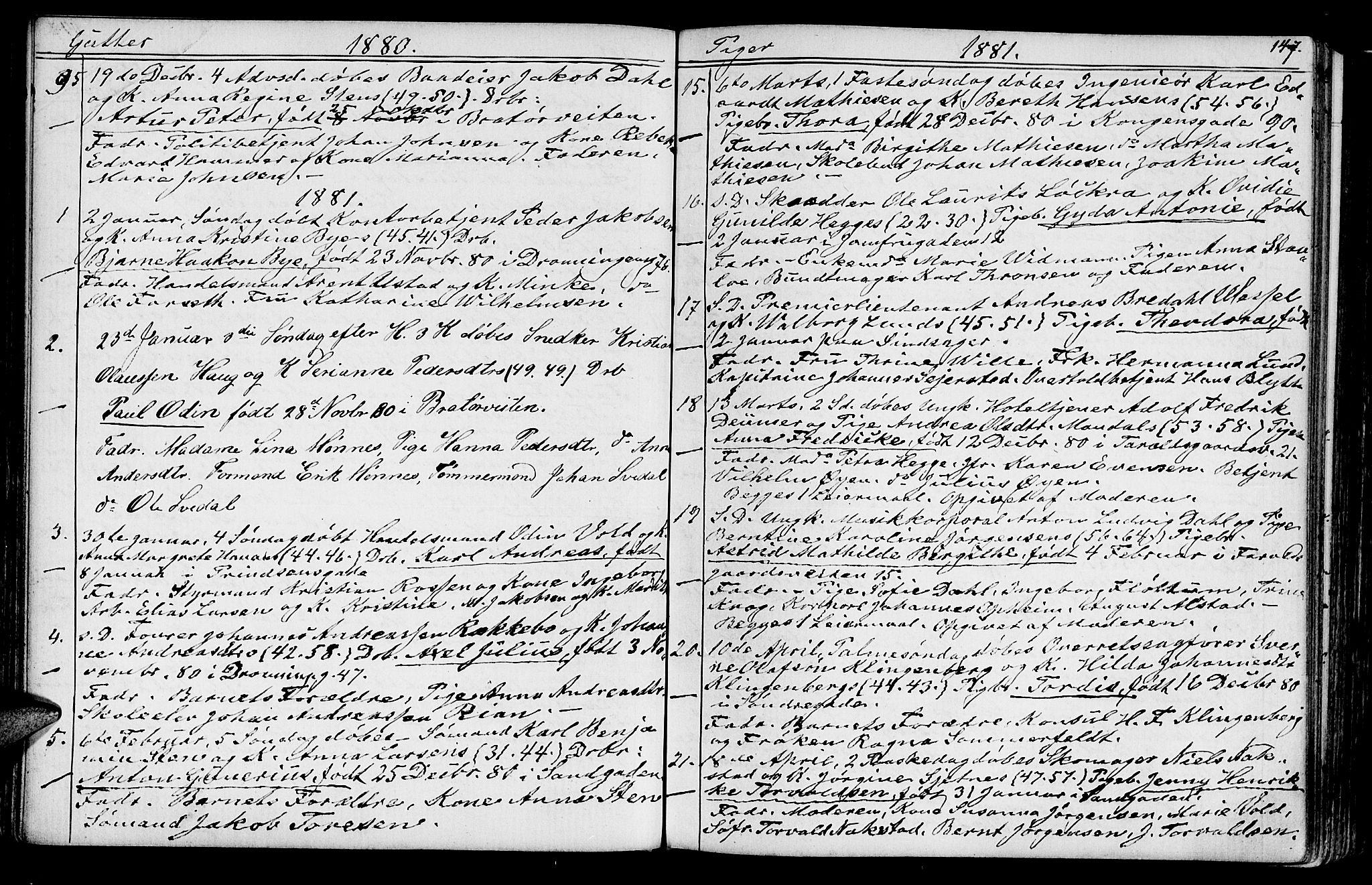 SAT, Ministerialprotokoller, klokkerbøker og fødselsregistre - Sør-Trøndelag, 602/L0142: Klokkerbok nr. 602C10, 1872-1894, s. 147