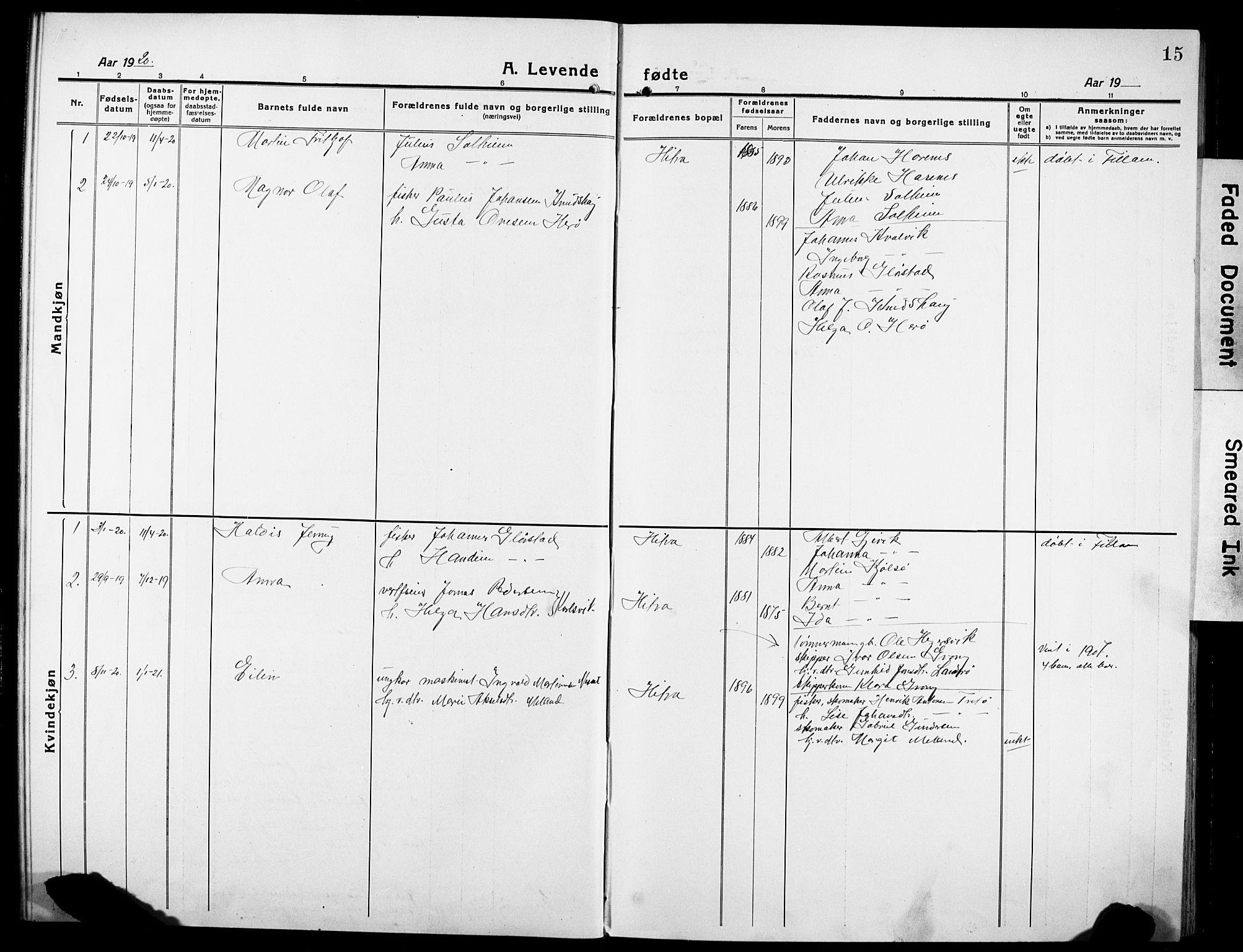 SAT, Ministerialprotokoller, klokkerbøker og fødselsregistre - Sør-Trøndelag, 634/L0543: Klokkerbok nr. 634C05, 1917-1928, s. 15