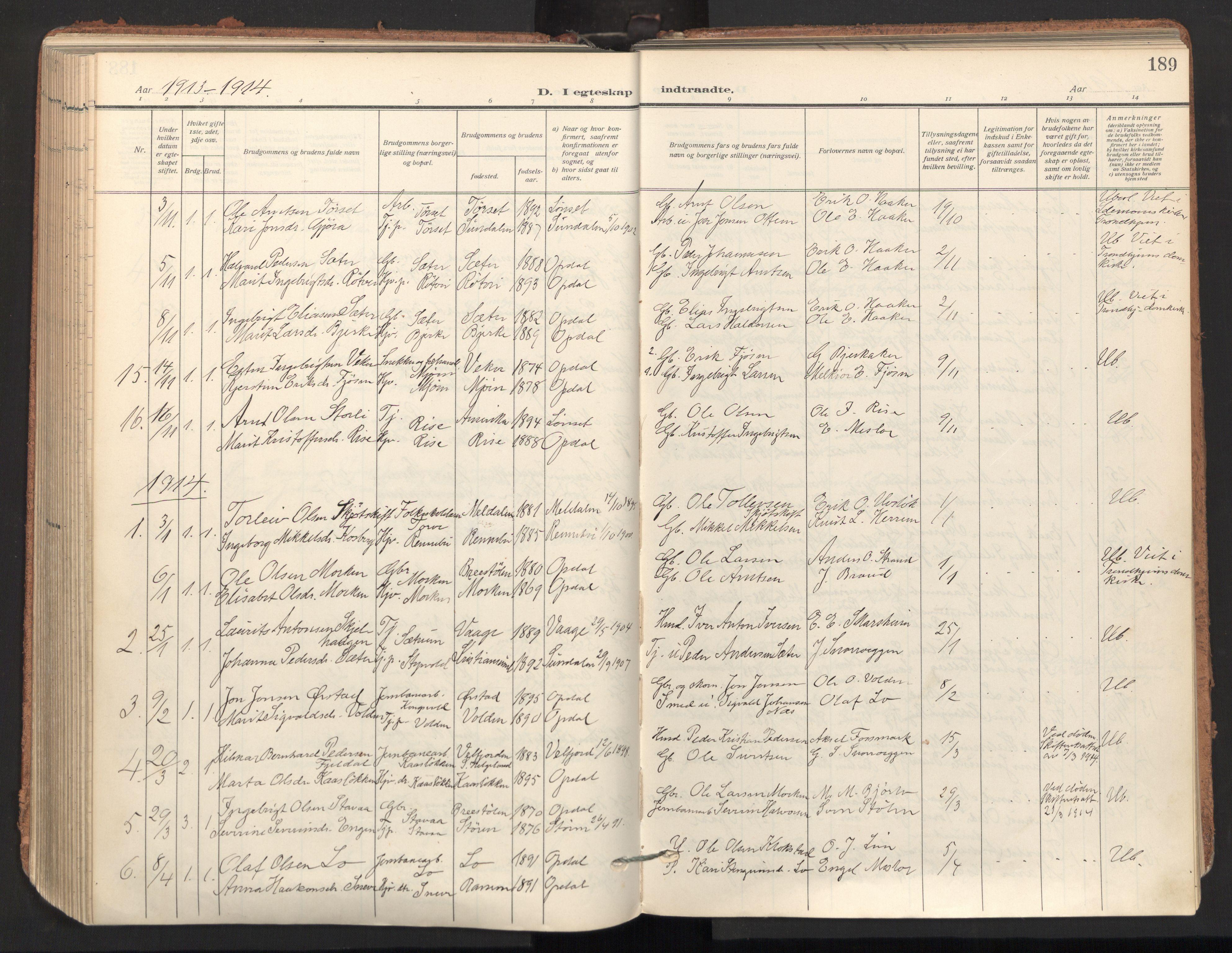 SAT, Ministerialprotokoller, klokkerbøker og fødselsregistre - Sør-Trøndelag, 678/L0909: Ministerialbok nr. 678A17, 1912-1930, s. 189