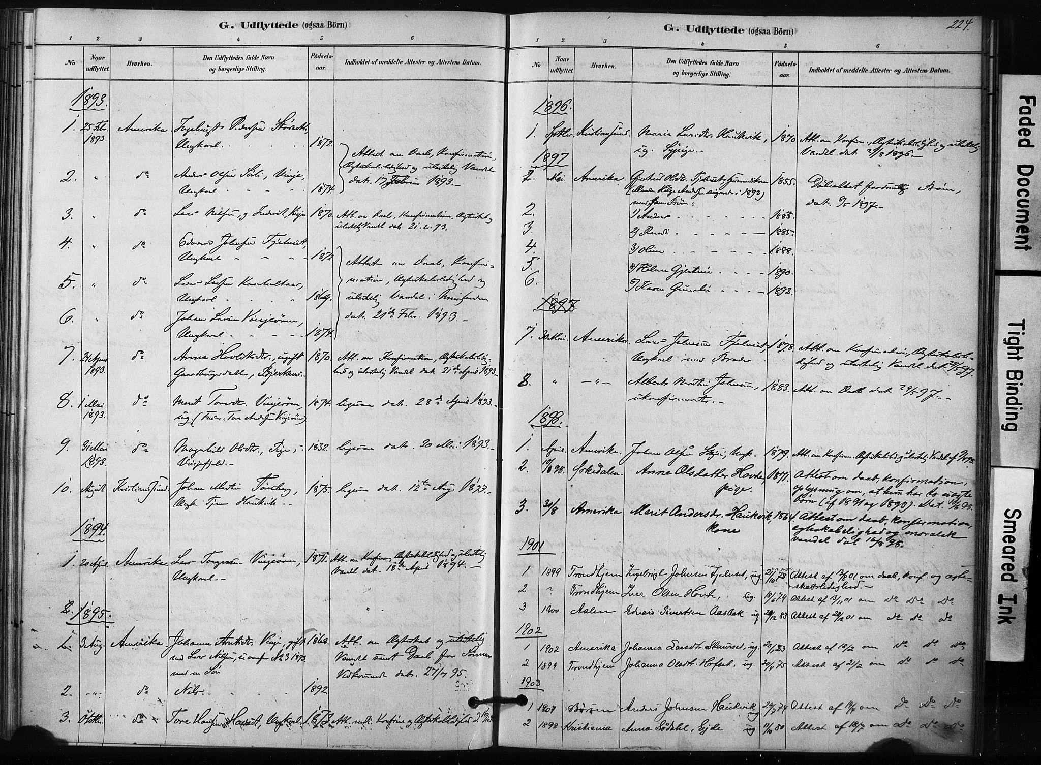 SAT, Ministerialprotokoller, klokkerbøker og fødselsregistre - Sør-Trøndelag, 631/L0512: Ministerialbok nr. 631A01, 1879-1912, s. 224
