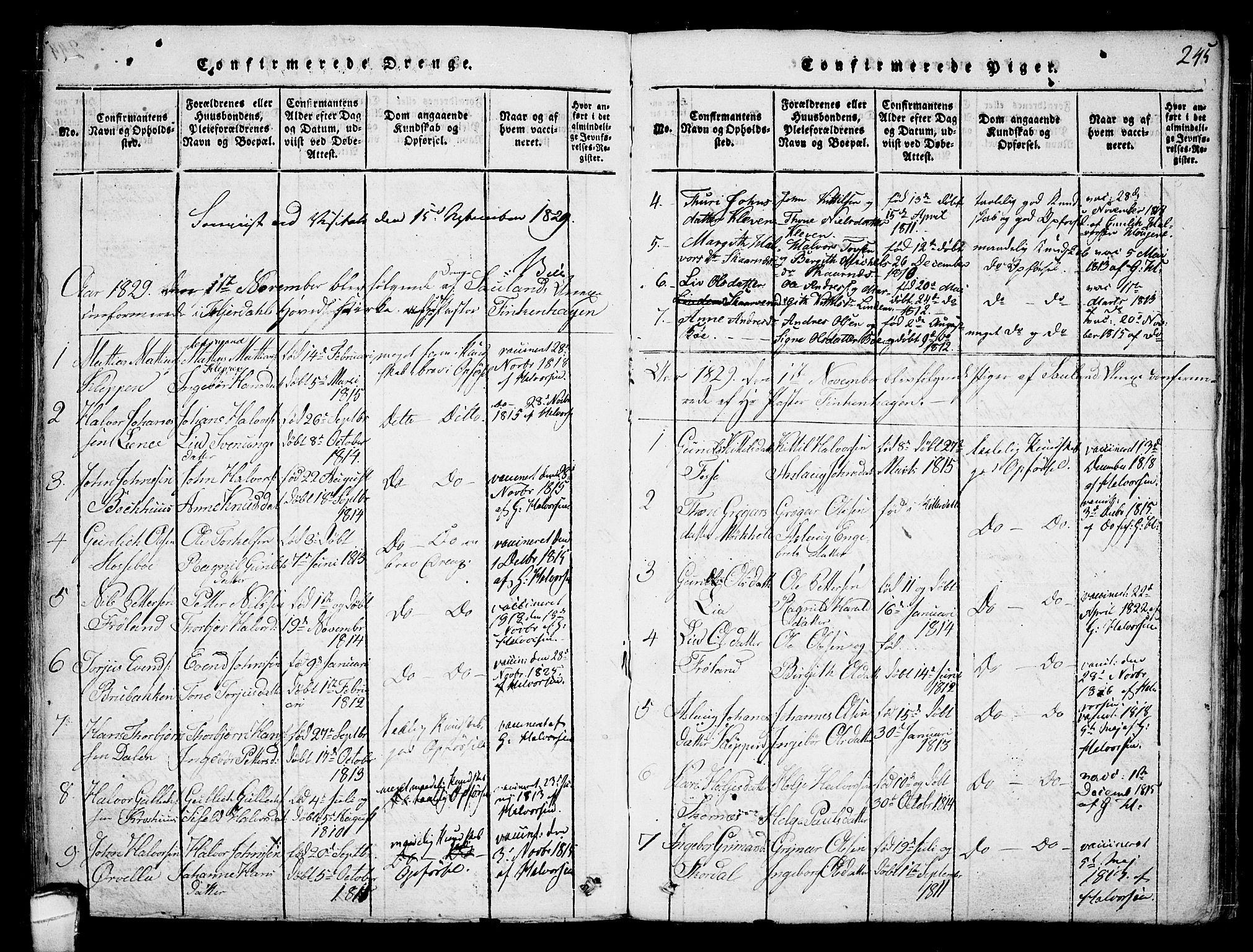 SAKO, Hjartdal kirkebøker, F/Fb/L0001: Ministerialbok nr. II 1, 1815-1843, s. 245