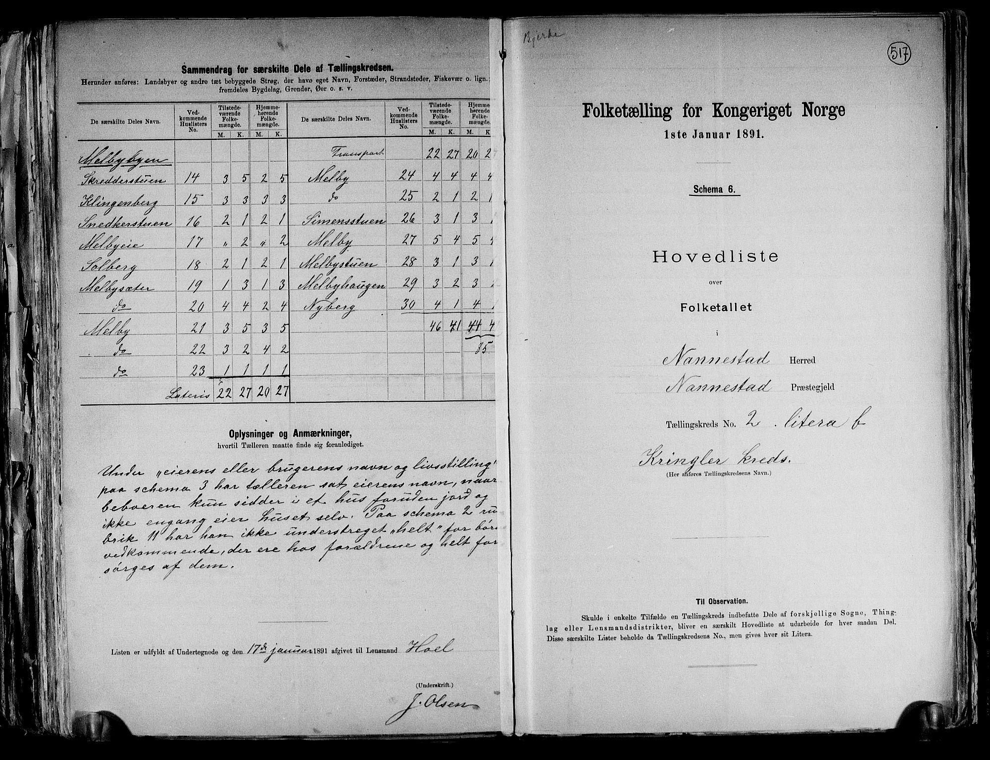 RA, Folketelling 1891 for 0238 Nannestad herred, 1891, s. 10