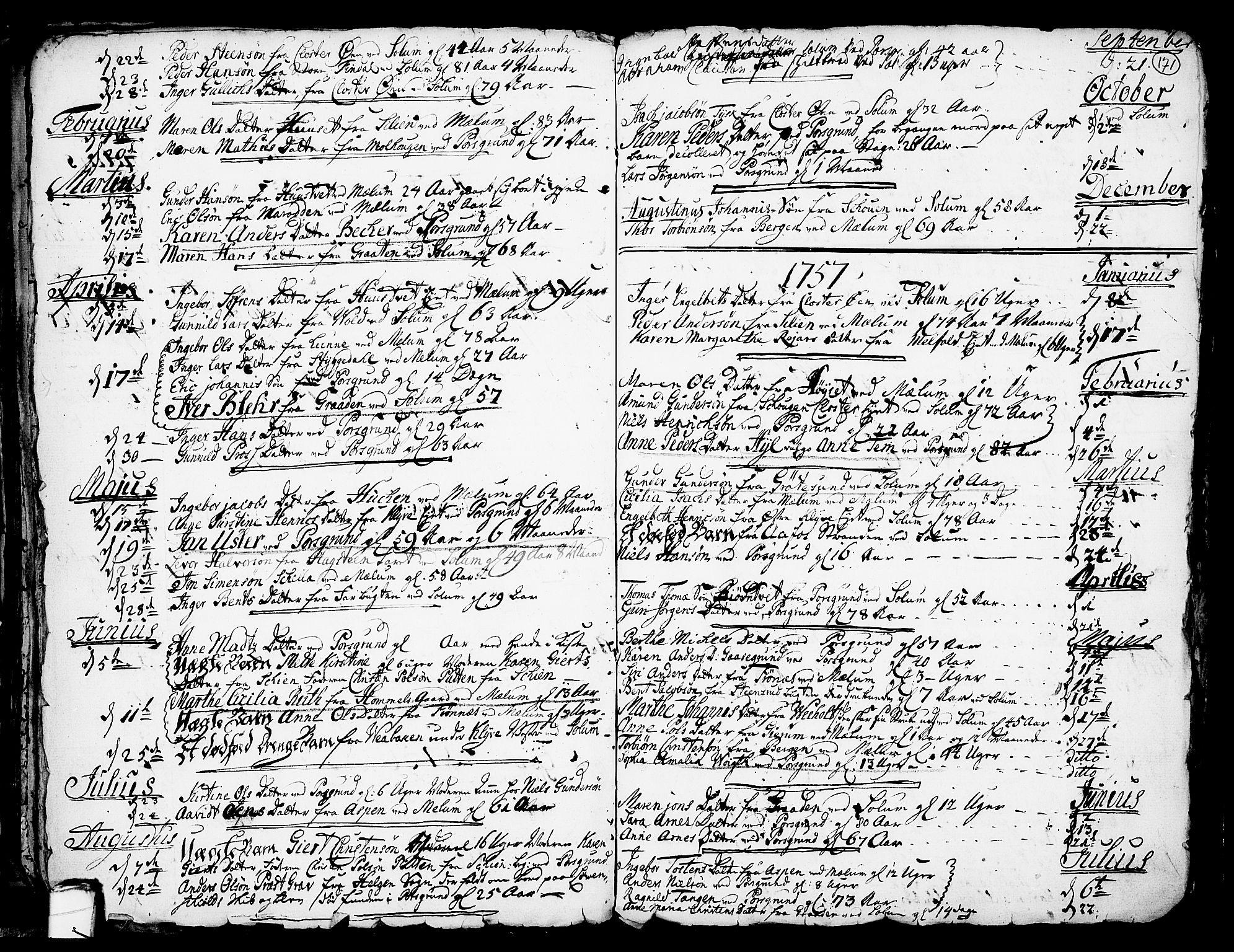 SAKO, Solum kirkebøker, F/Fa/L0002: Ministerialbok nr. I 2, 1713-1761, s. 171