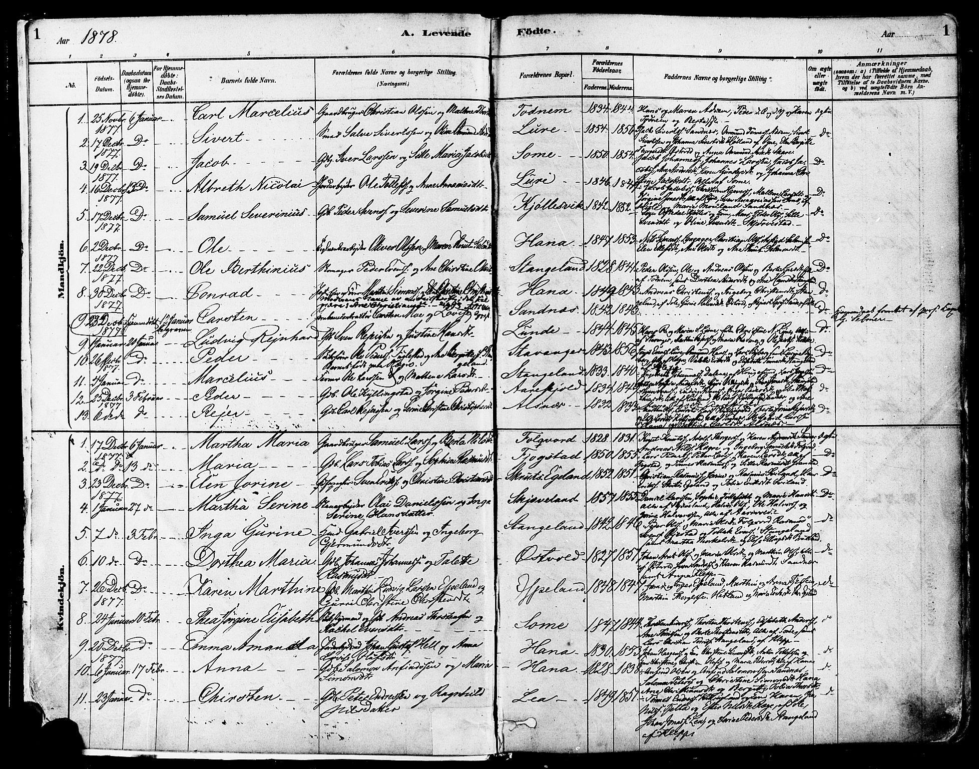 SAST, Høyland sokneprestkontor, 30BA/L0011: Ministerialbok nr. A 10, 1878-1888, s. 1